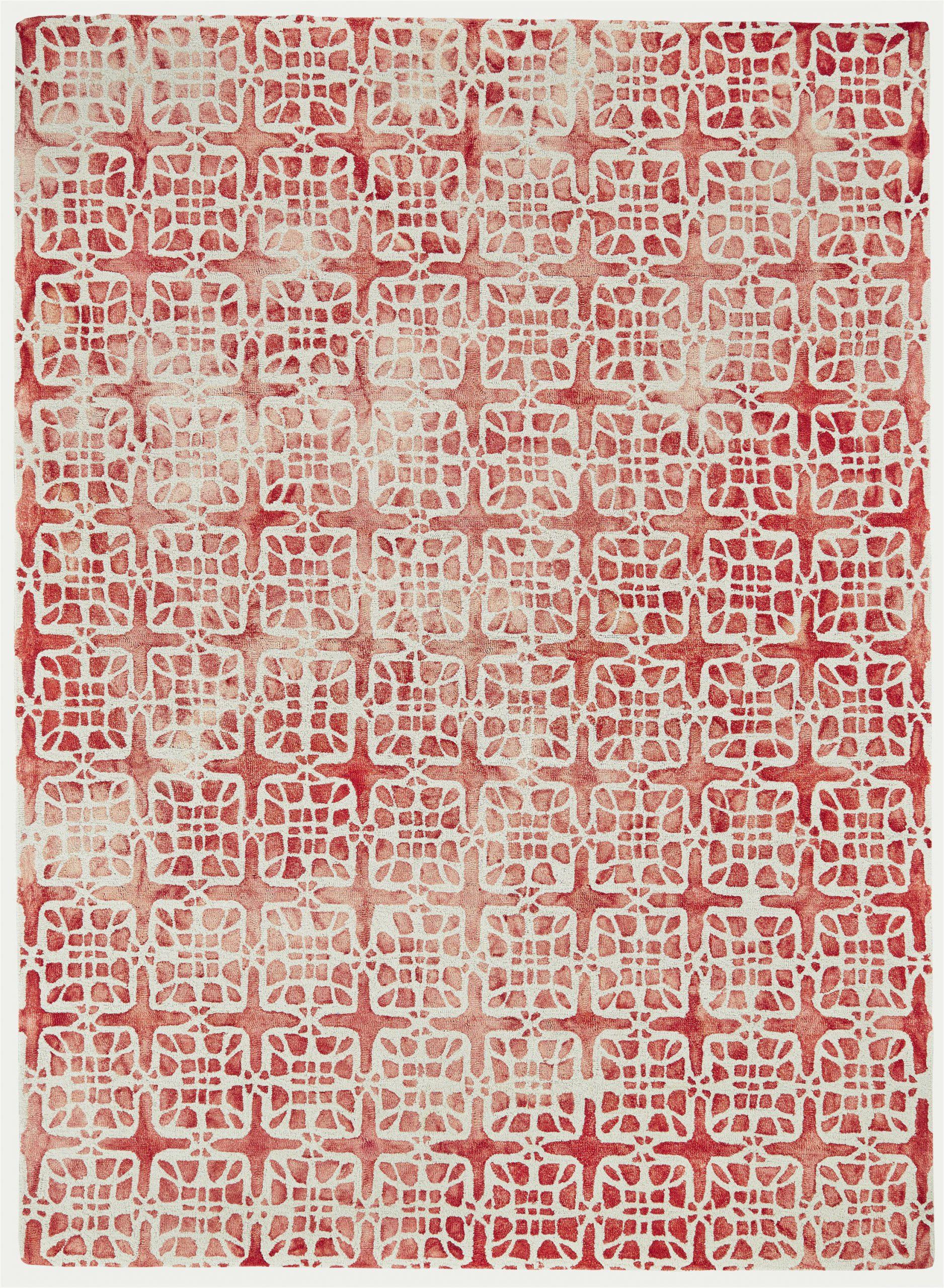 frederick geometric hand hooked wool redbeige area rug