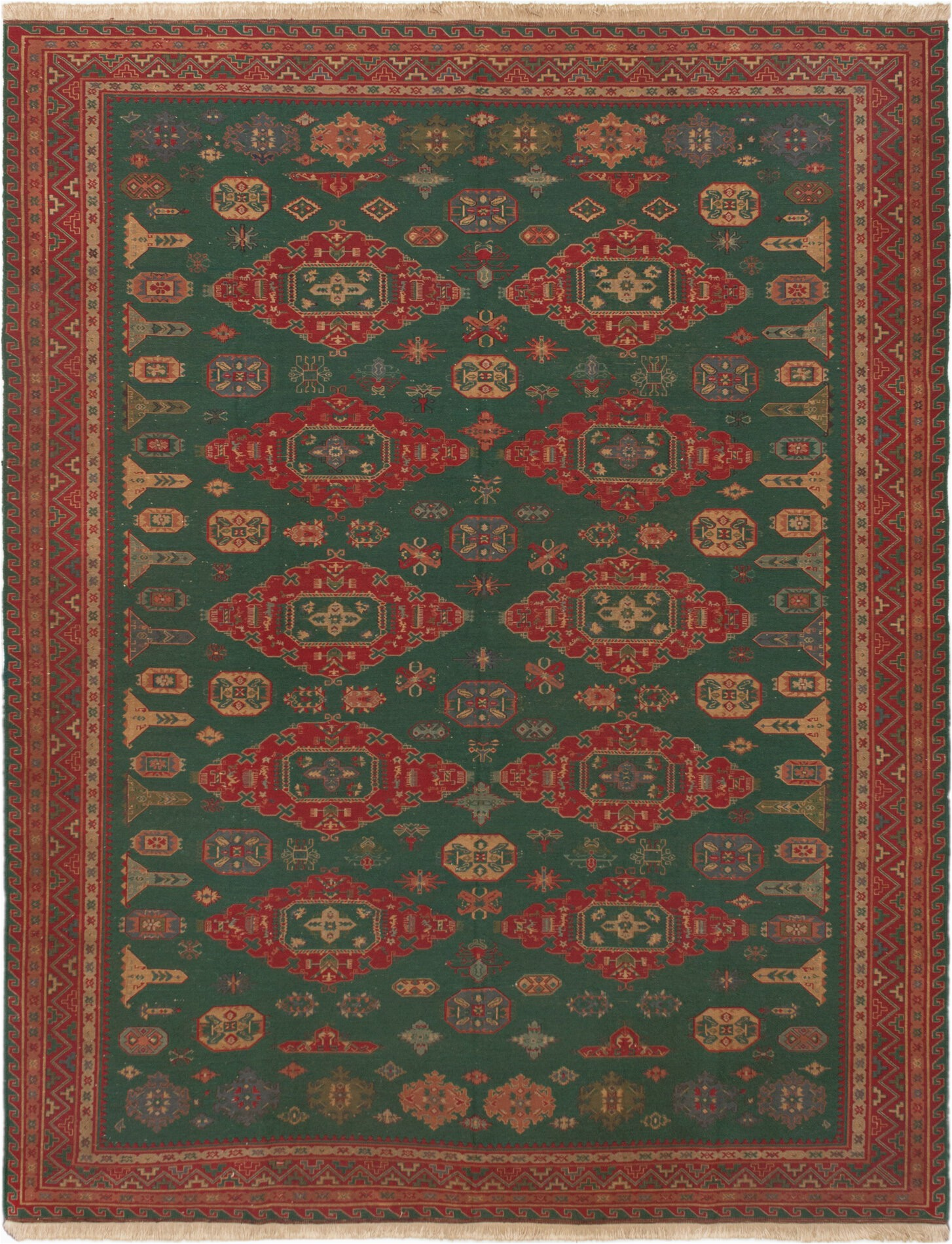 isabelline idalou handwoven flatweave 92 x 114 wool greenred area rug w piid=