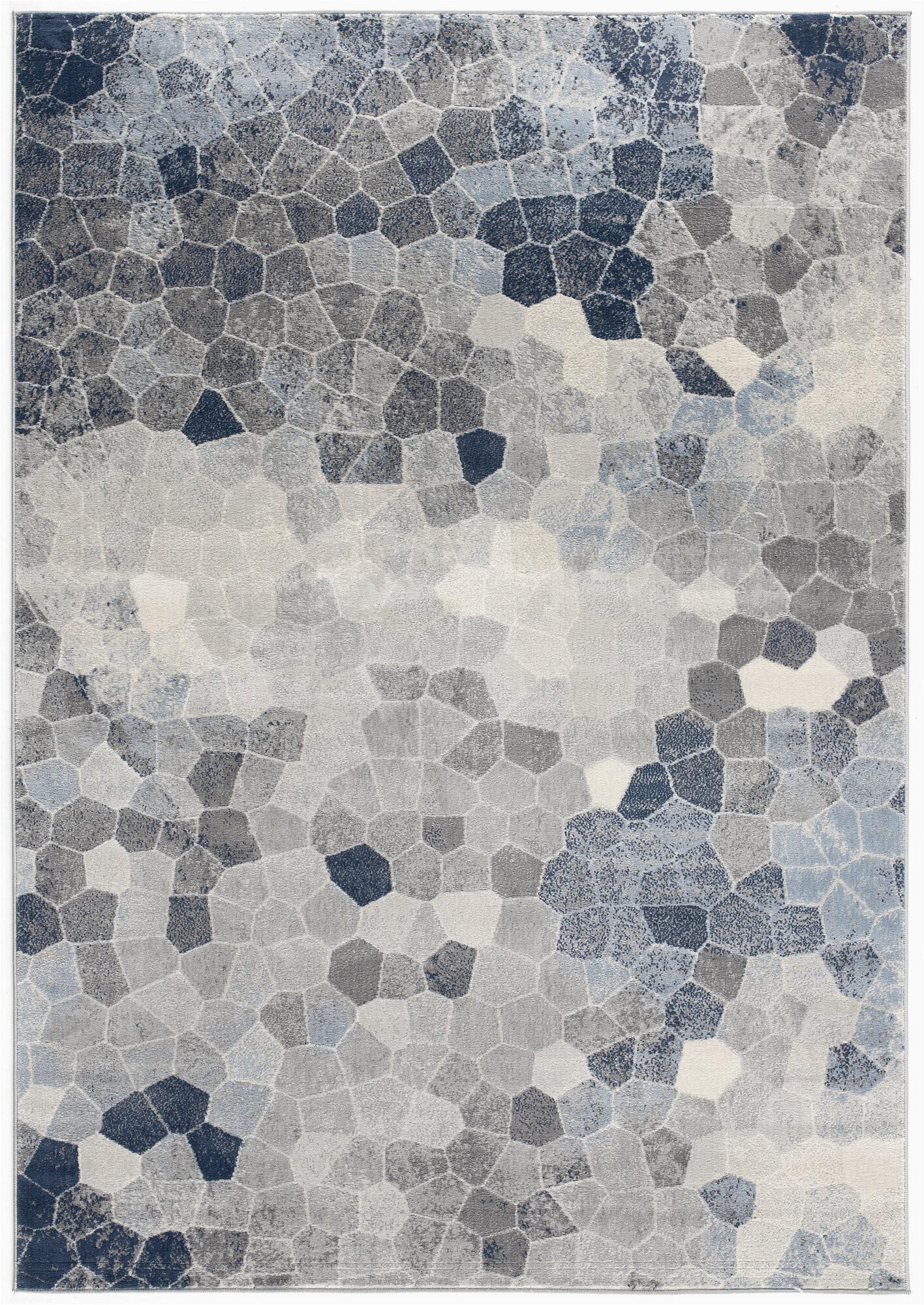 Grey and Navy Blue area Rug Capodanno Geometric Navy Gray area Rug