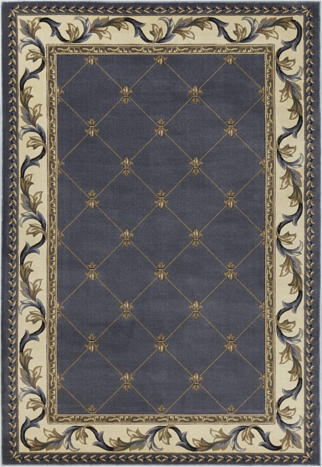 kas corinthian 5320 blue fleur de lis area rug