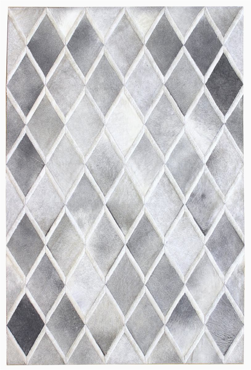 DIAMOND Grey White Modern Leather Area Rug