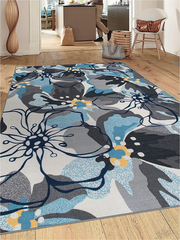 "Large Non Slip area Rugs Modern Floral Non Slip Non Skid area Rug 8 X 10 7 10"" X 10 Gray Blue"