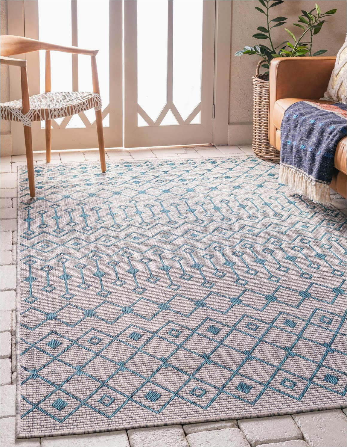 light blue 6x9 outdoor trellis area rug