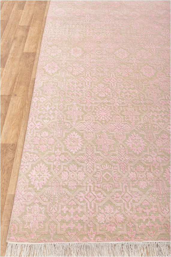 Light Pink area Rug 8×10 8×10 Pink area Rug Handmade Wool Transitional Design Light Pink Beige 6816 242×300 Cms