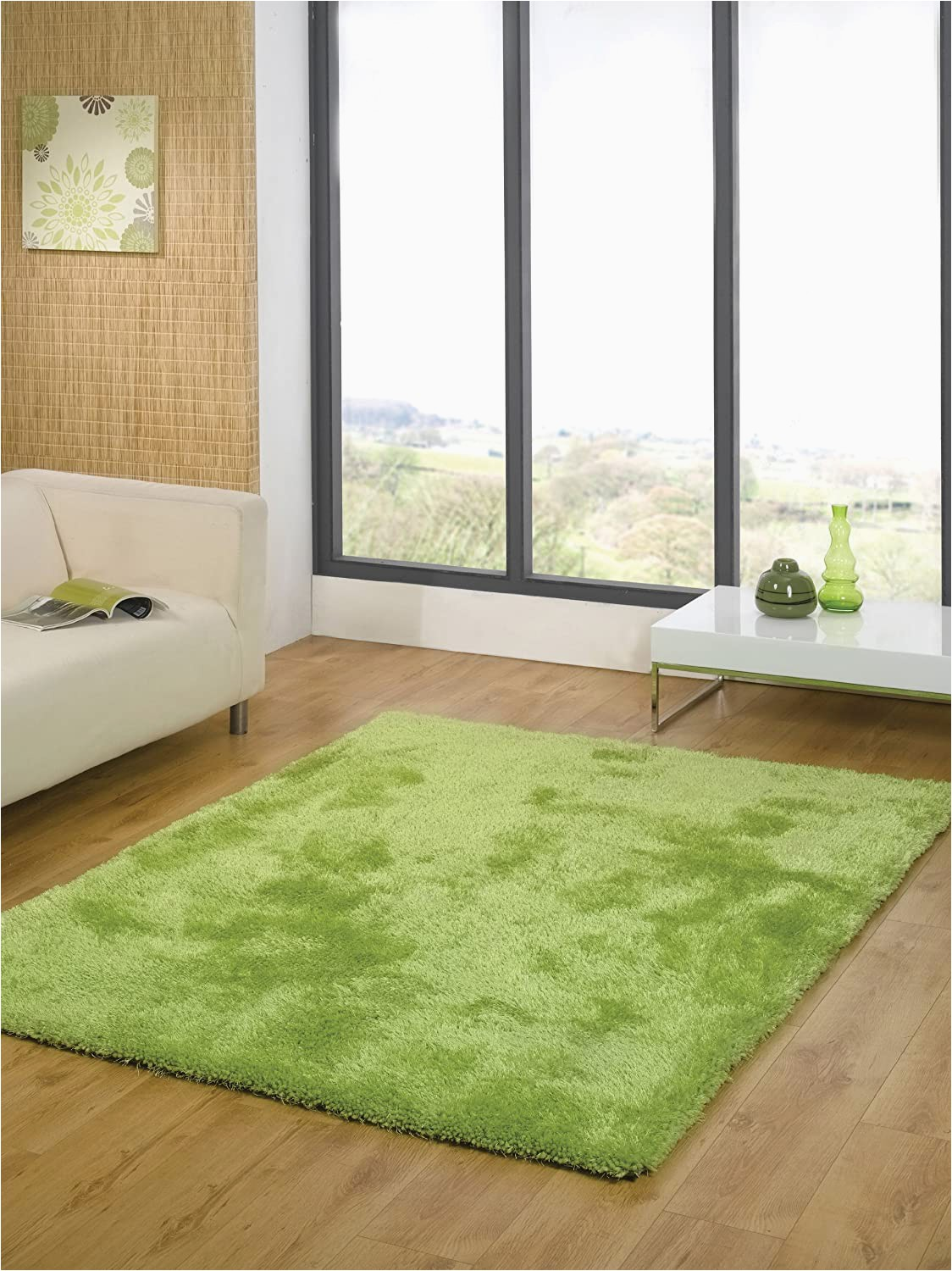 Lime Green Round area Rug Modern Thick Shaggy Quality Plain Lime Green Round Rug