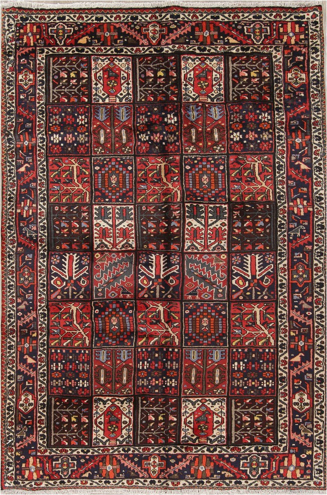 consigned bakhtiari hand made garden design persian oriental area rug 7 x10 prvw vr