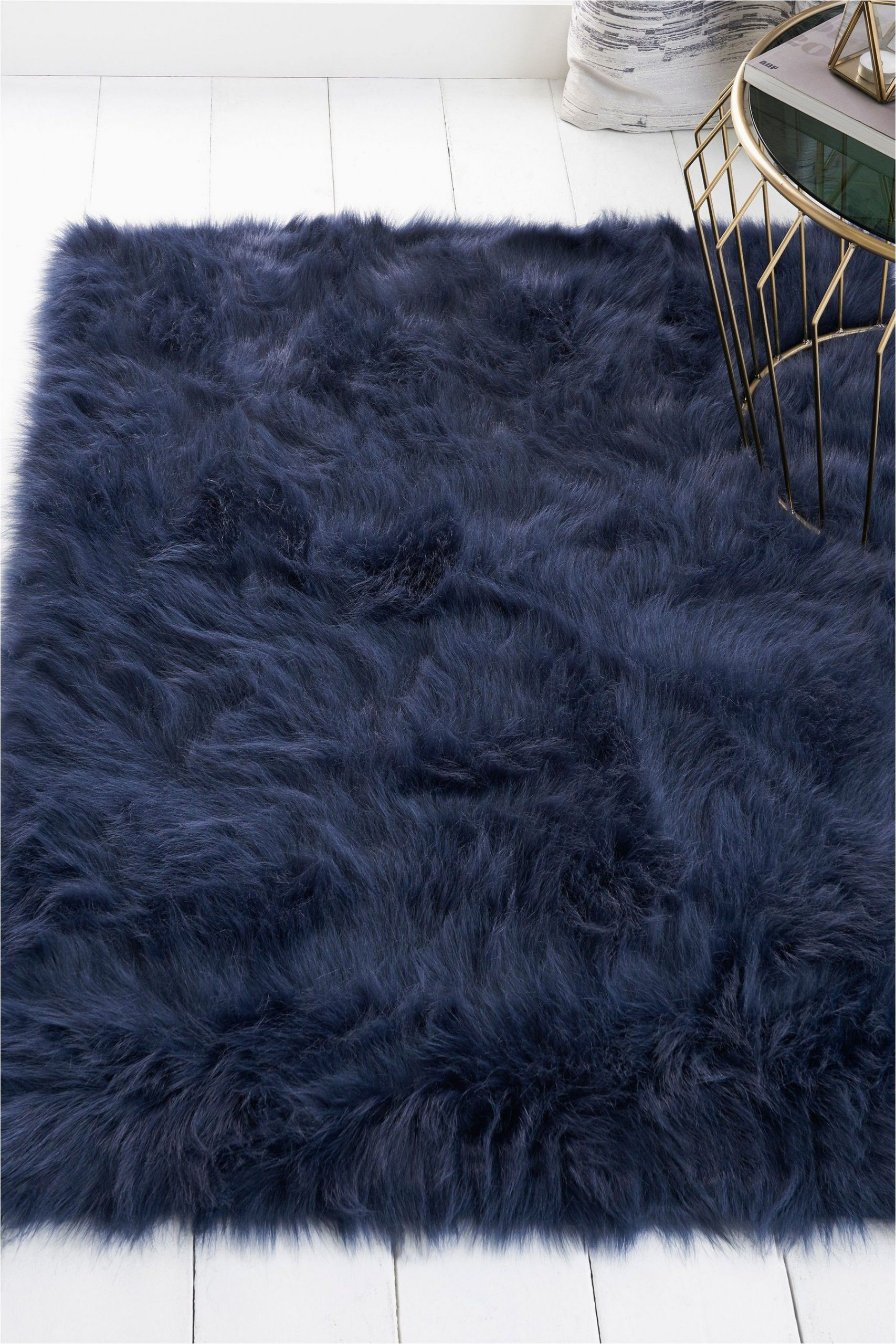 Navy Blue Fur area Rug Next Faux Sheepskin Rug Blue