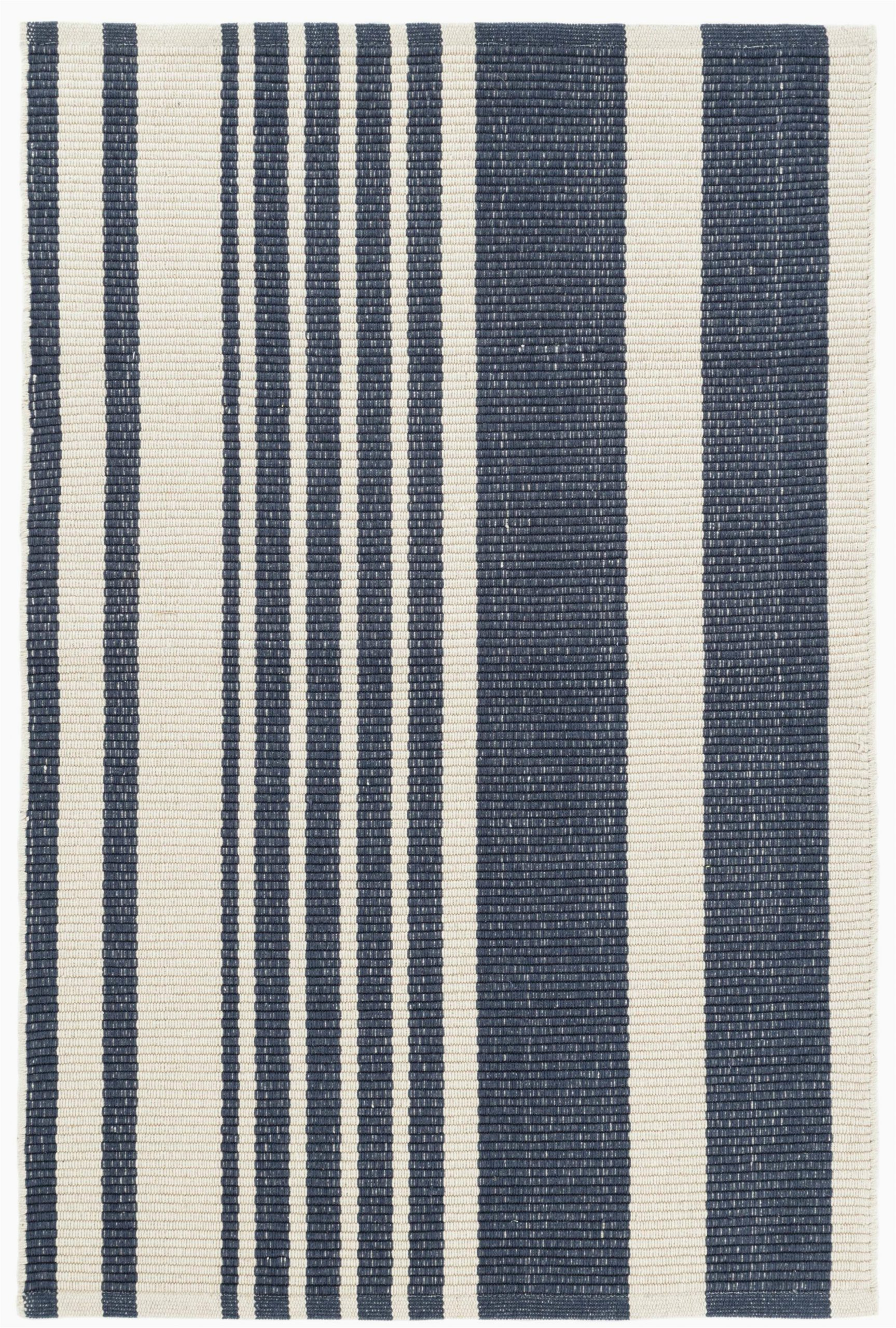 portland striped handmade flatweave cotton dark blue area rug