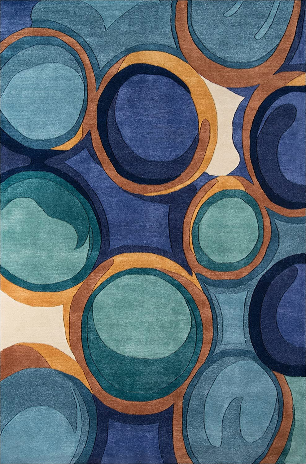 """New Wave Collection area Rugs Momeni Rugs New Wave Collection Wool Hand Carved & Tufted Contemporary area Rug 9 6"""" X 13 6"""" Blue"""