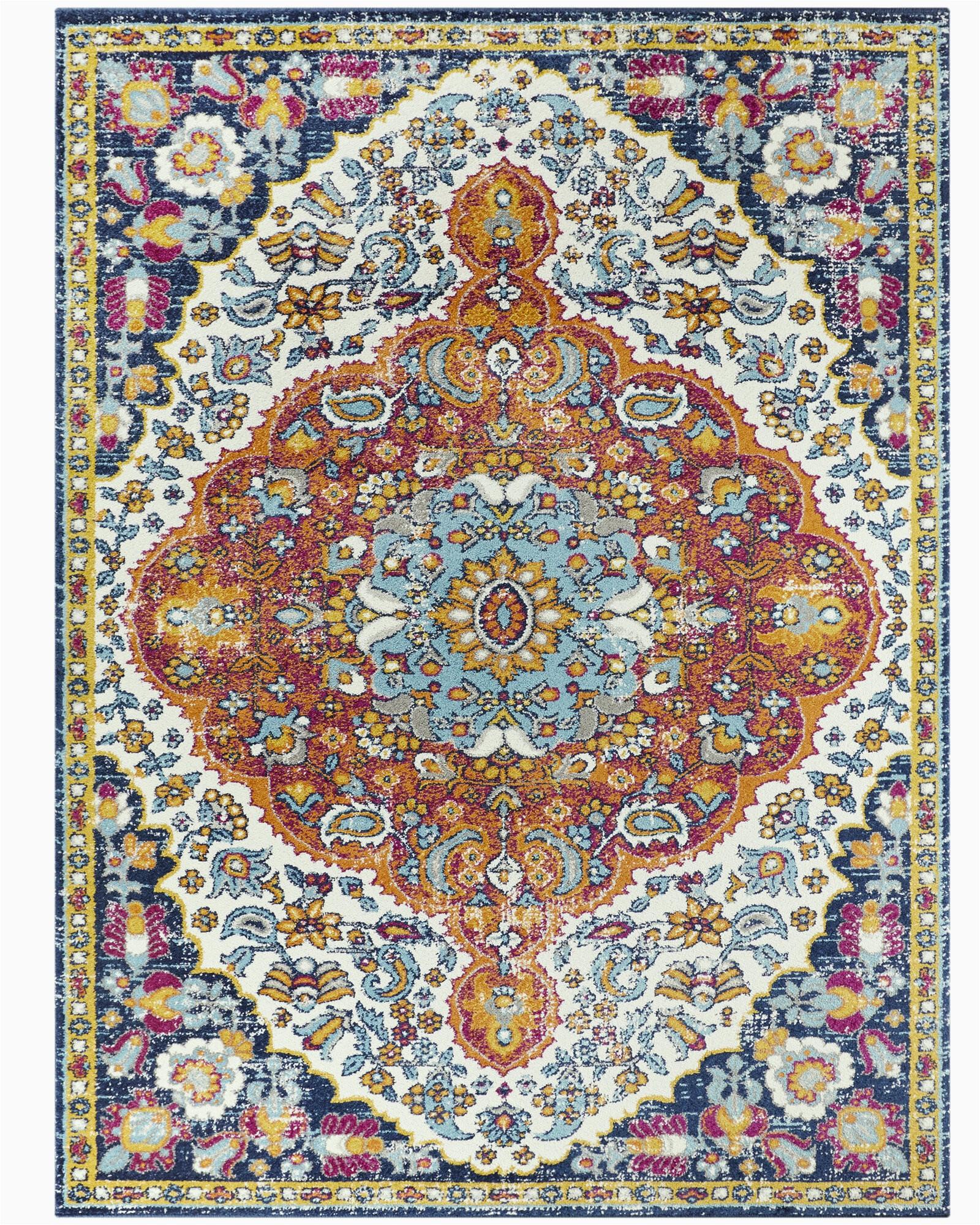 sultana oriental orange blue pink area rug