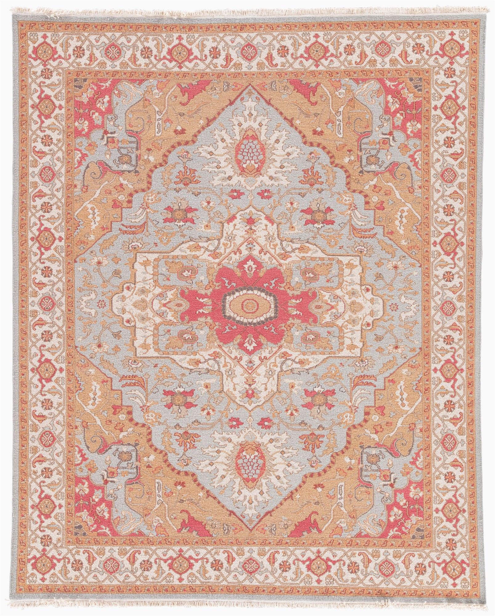 Orange and Pink area Rugs Talma Hand Knotted Medallion orange Pink area Rug 6 X9