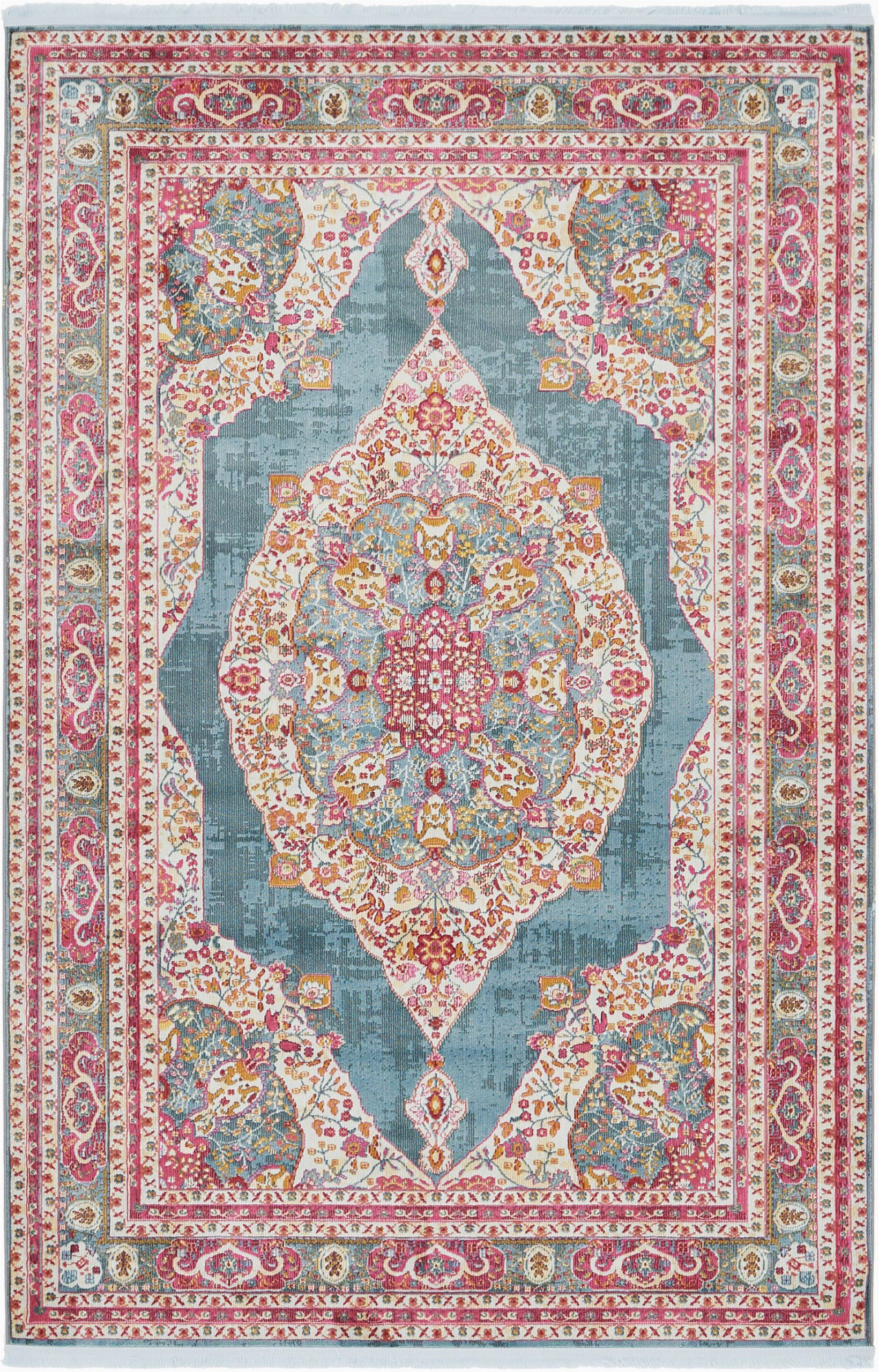 Pink and Turquoise area Rug Bungalow Rose Lonerock oriental Turquoise area Rug & Reviews
