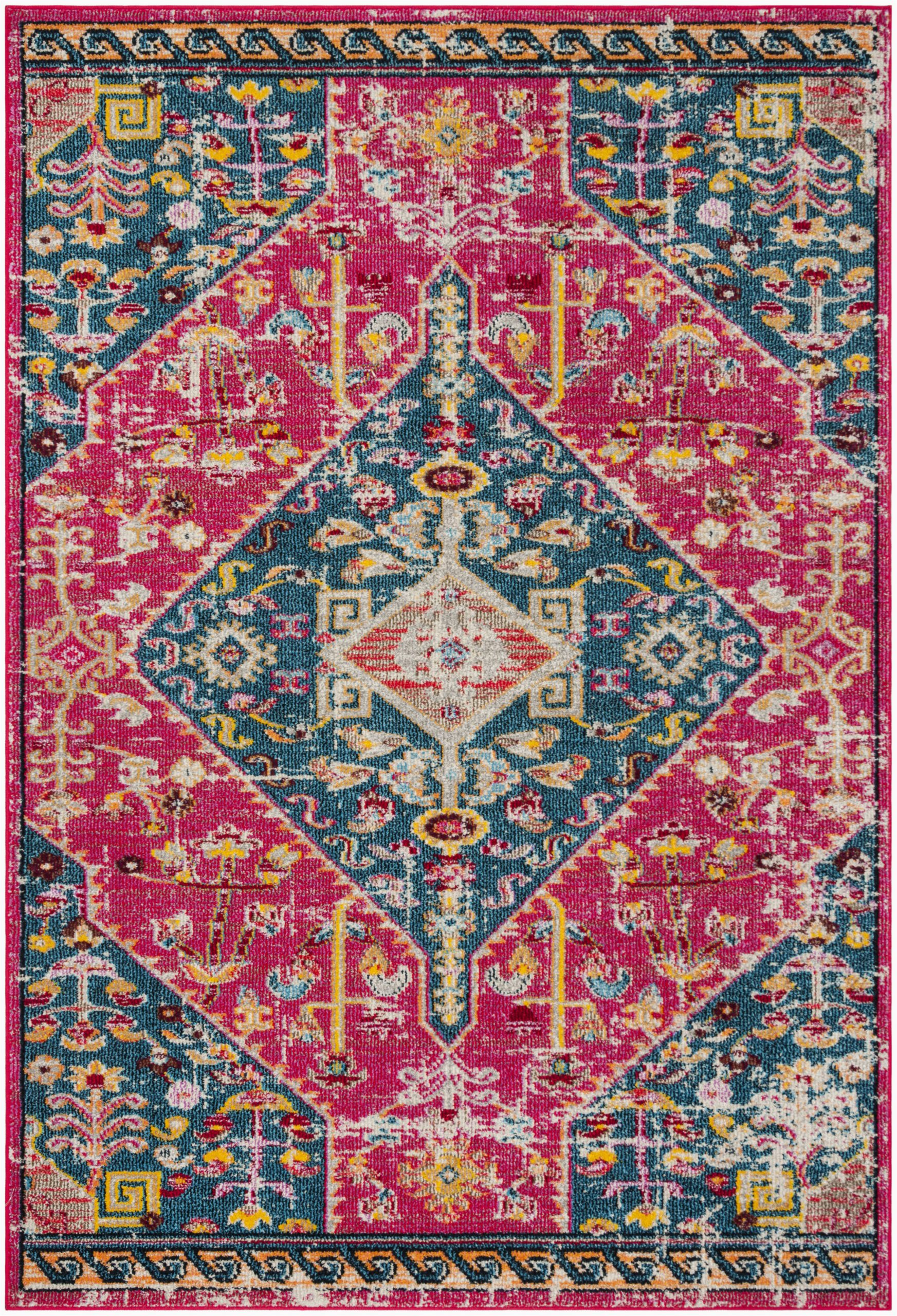 katie oriental pink turquoise area rug