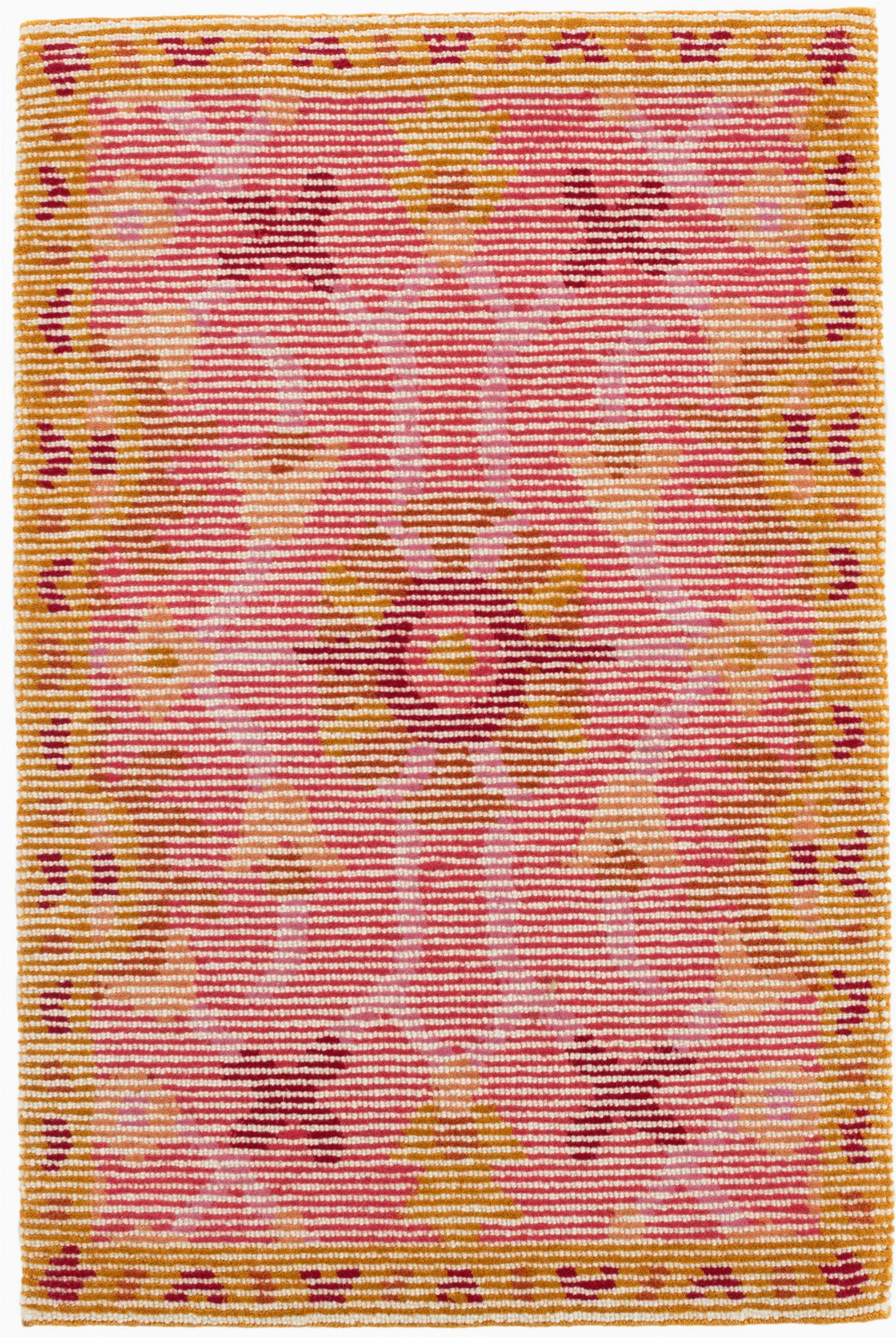 Pink and Yellow area Rugs oriental Handmade Looped Hooked Wool Pink Yellow area Rug