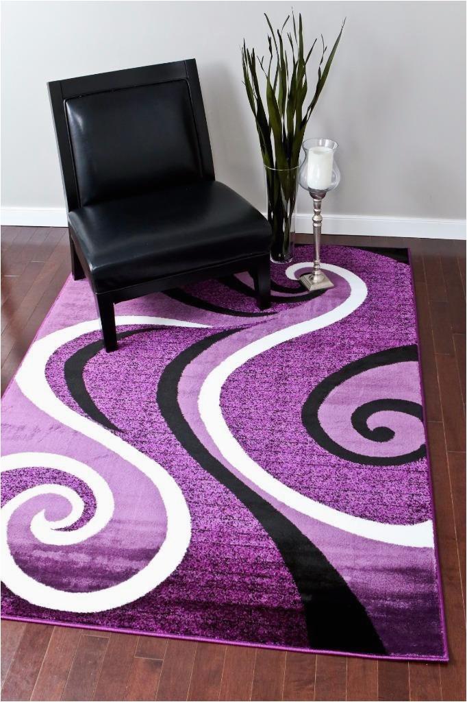 0327 purple black white 52 x 72 area rug abstract carpet