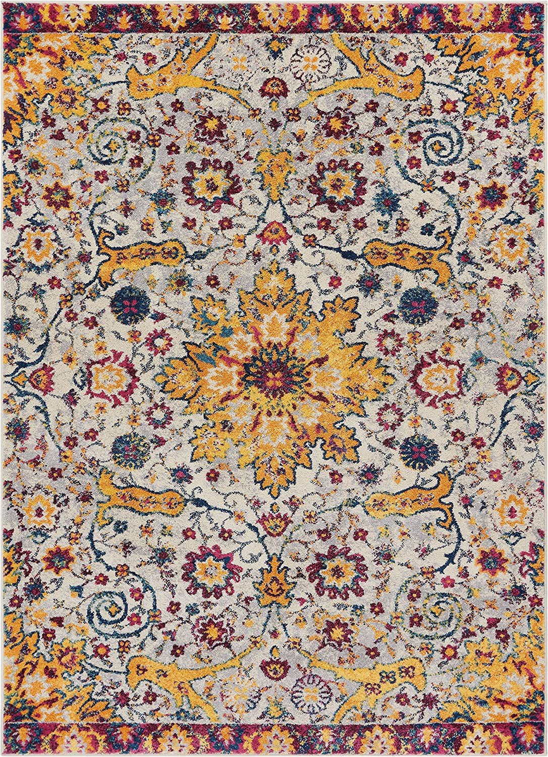 """Purple and Yellow area Rug Celestial Boho Medallion 5×7 5 3"""" X 7 3"""" area Rug Yellow Blue Purple Distressed Traditional Vintage Floral oriental"""