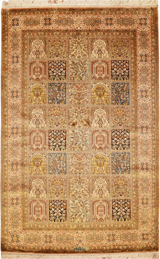 6x4 qum pure silk area rug carpet tree of life oriental hand knotted