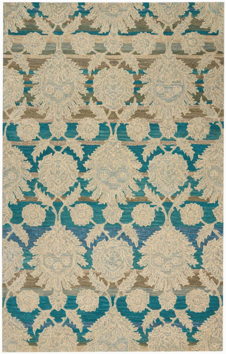 nourison india house ih91 ivory teal area rugx