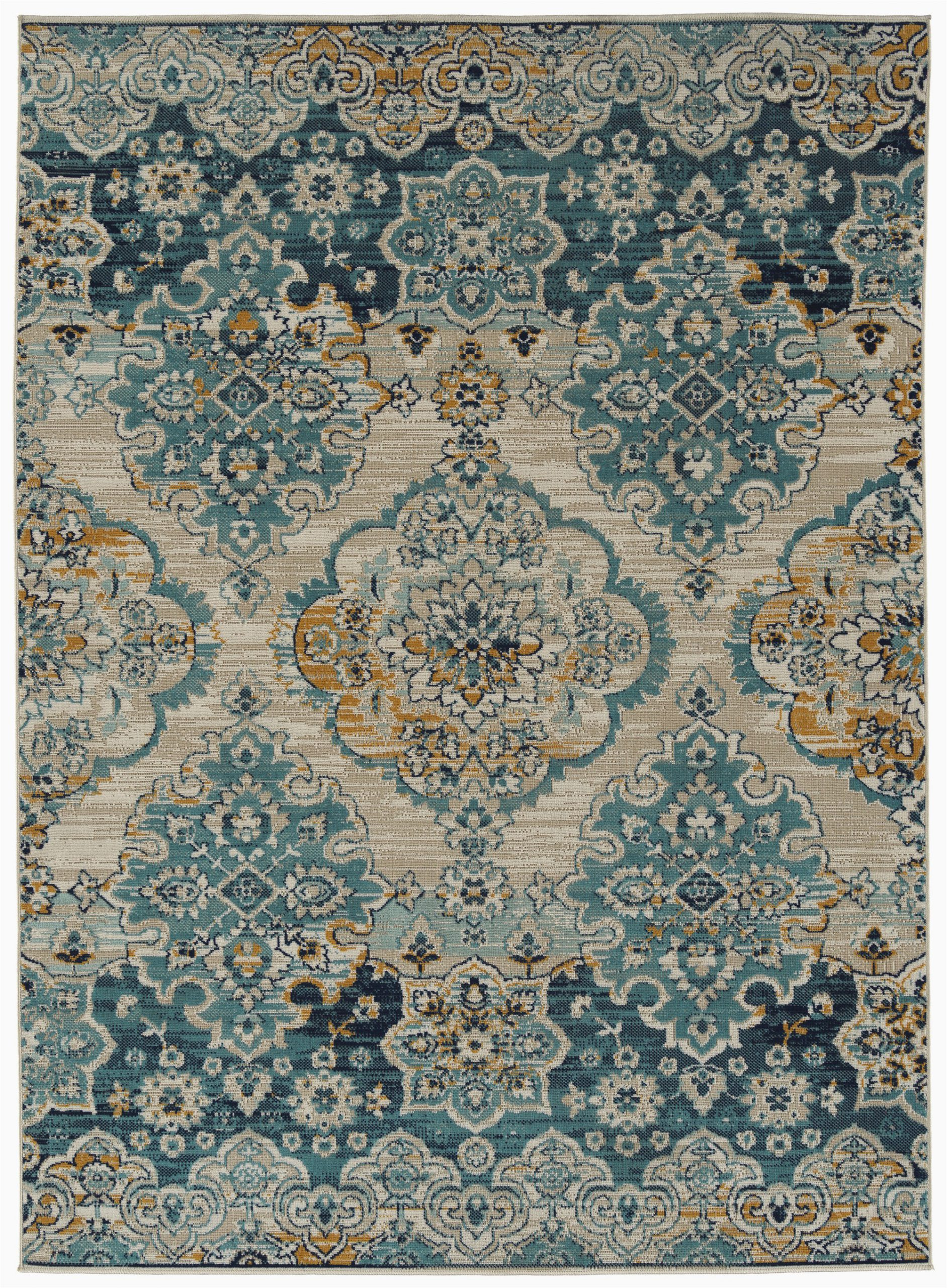 atherton oriental turquoiseyellowbeige indoor outdoor area rug