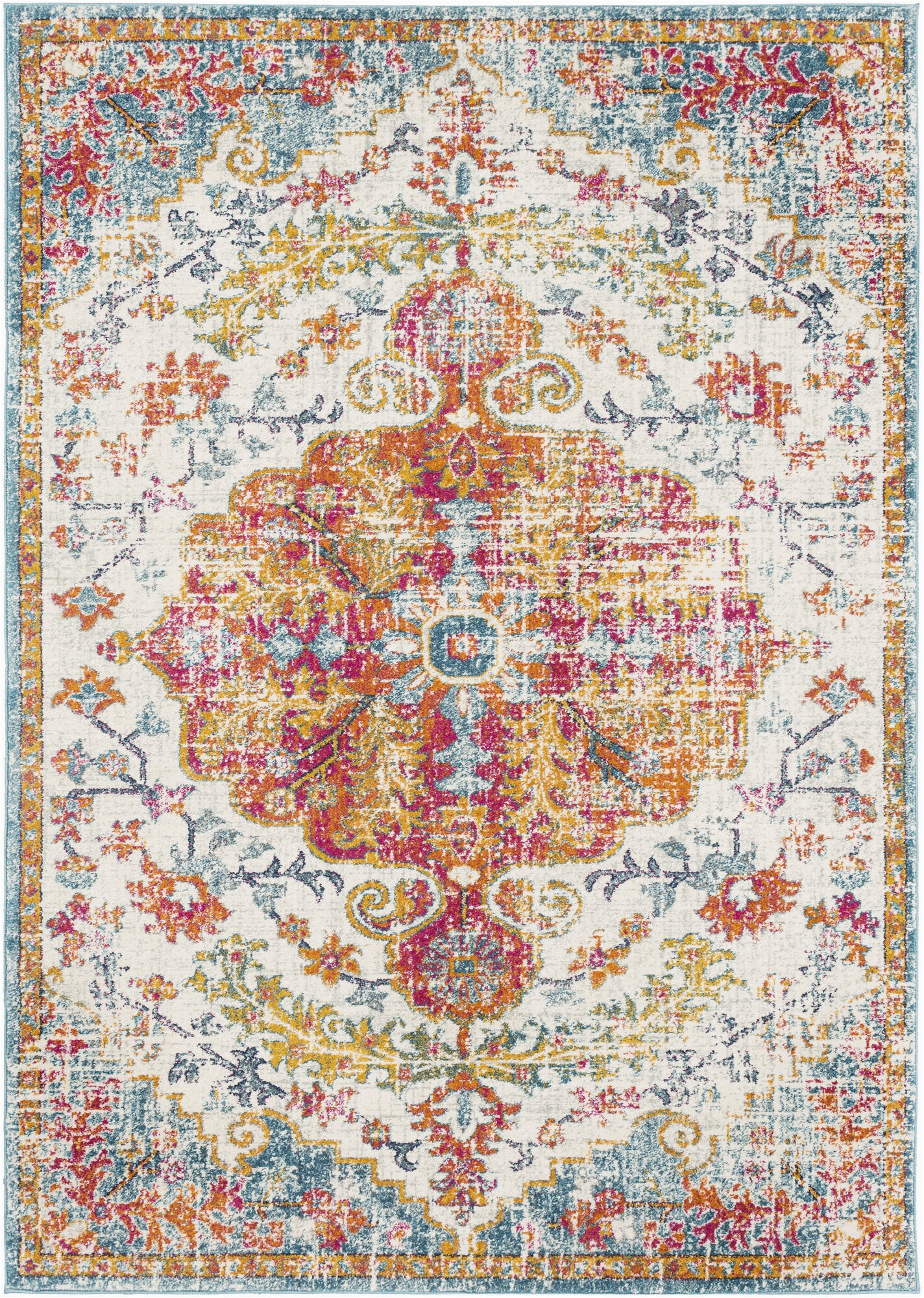 hillsby power loom beige saffronteal rug