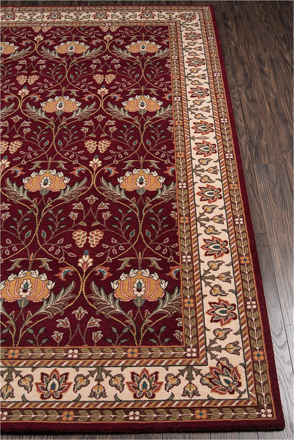 8 Runner Burgundy 100 New Zealand Wool Traditional