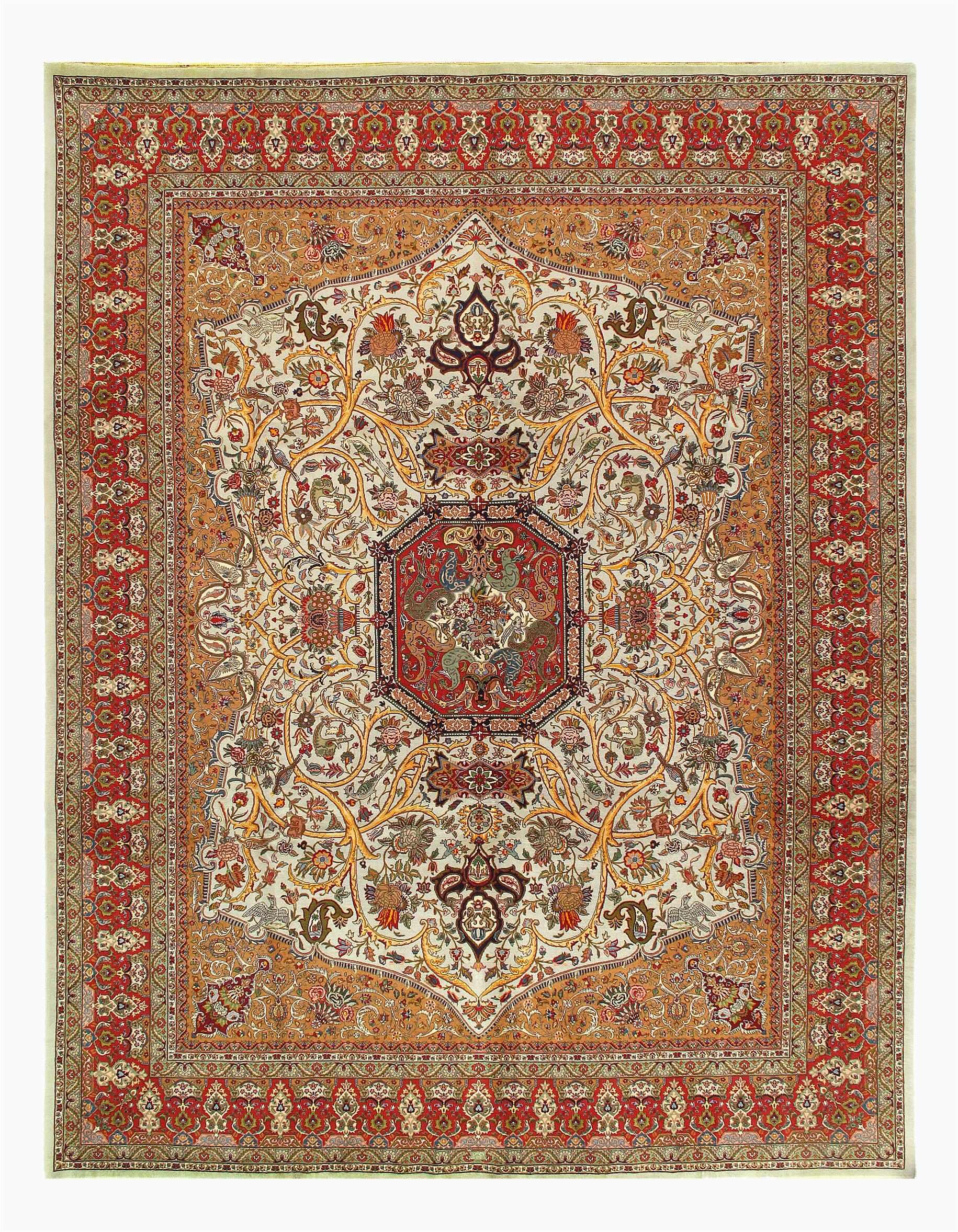 isabelline one of a kind cannes hand knotted ivoryred 10 x 13 area rug w