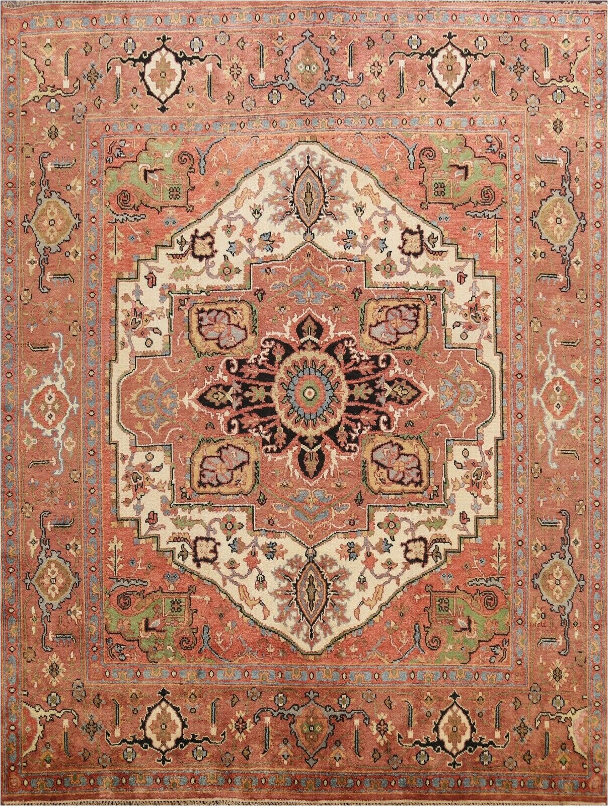 6 Foot Square area Rug 10×10 Ft Square Geometric Ivory Heriz Serapi oriental area Rug Wool Hand Knotted
