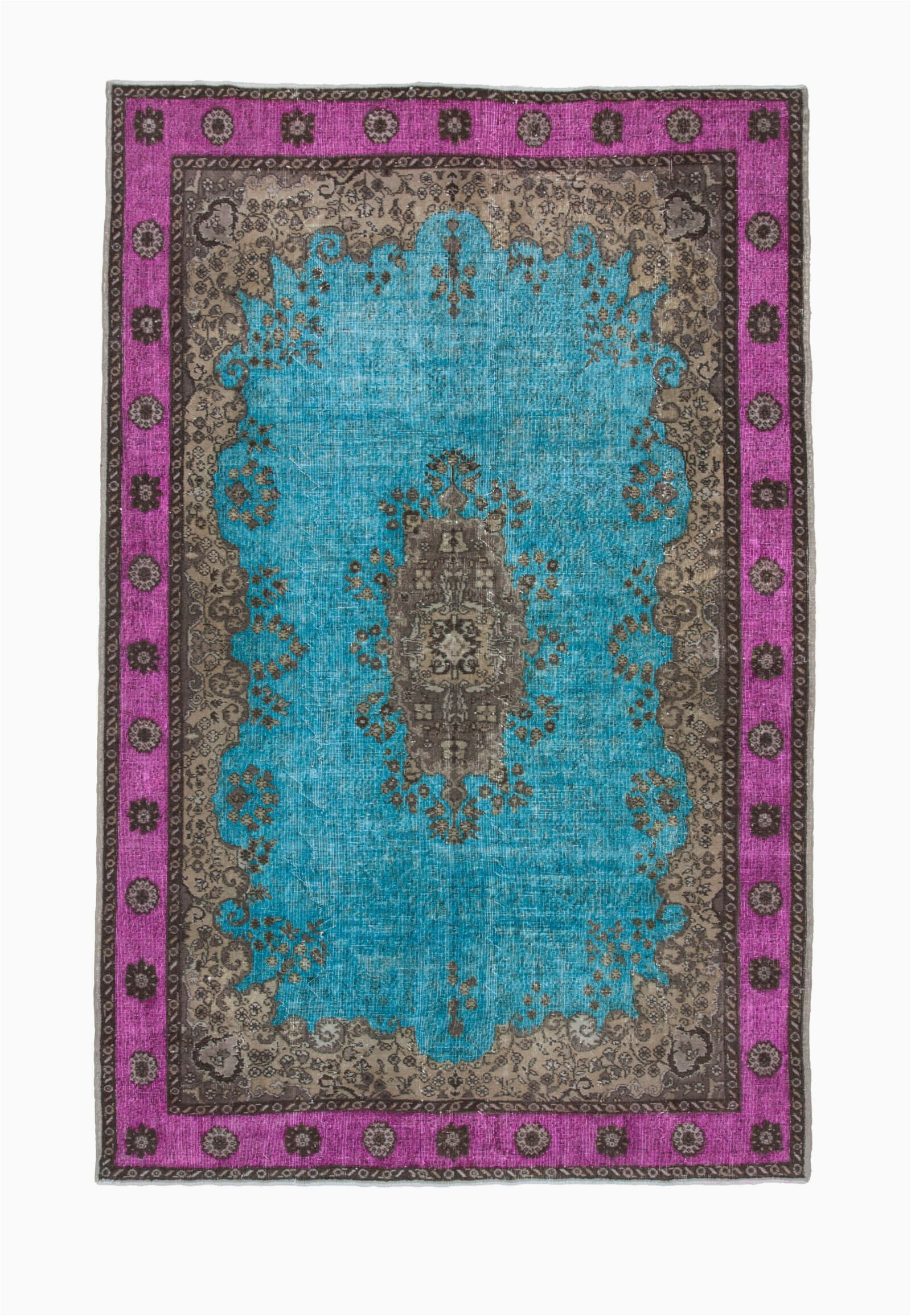 bloomsbury market one of a kind crowne hand knotted 1960s turkish brownfuchsiaturquoise 7 x 11 area rug w