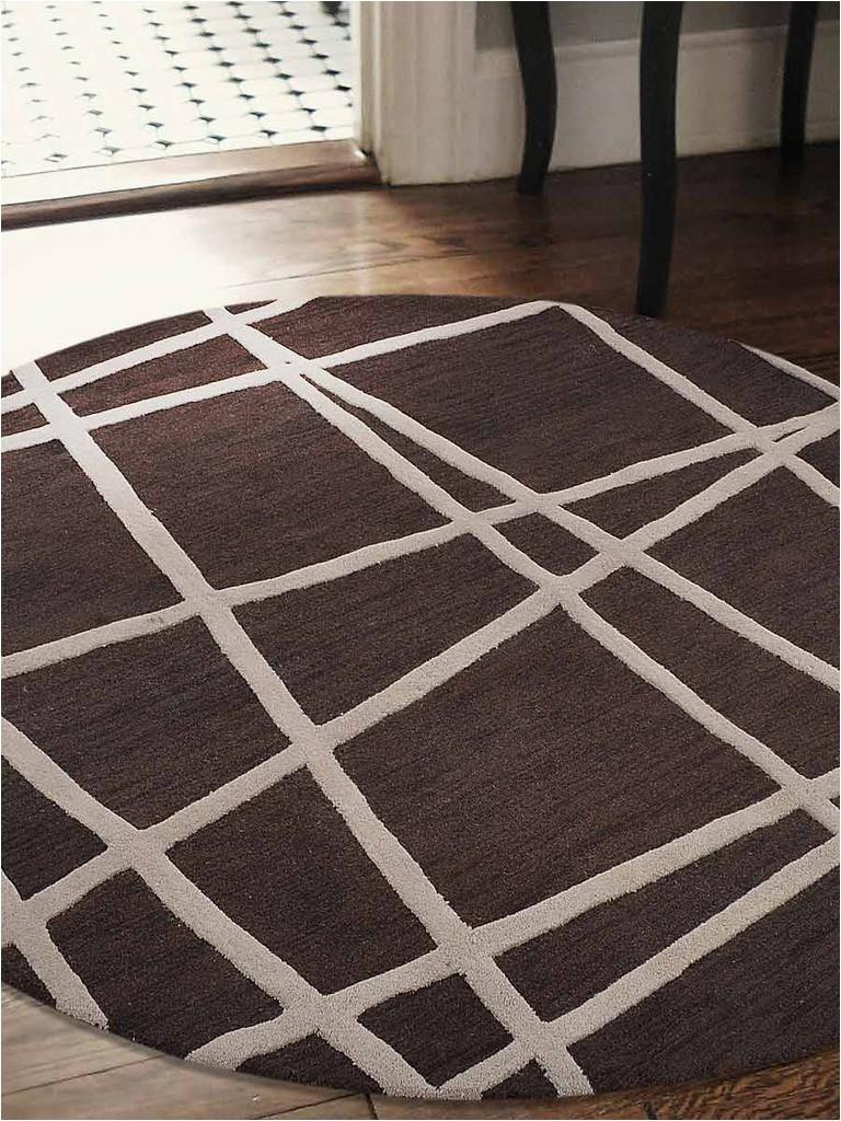 k t0004b8 8 x 8 ft geometric hand tufted woolen round area rug brown 483d f5c46ba8e6d435df2e0deeb p