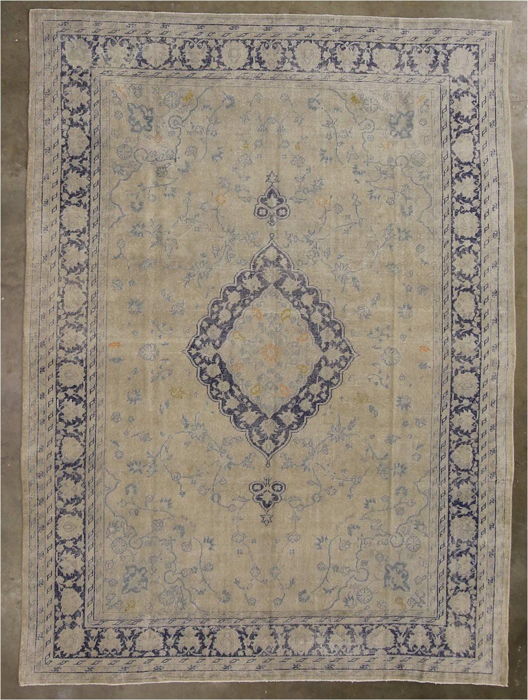 9x12 ivory white vintage turkish area rug