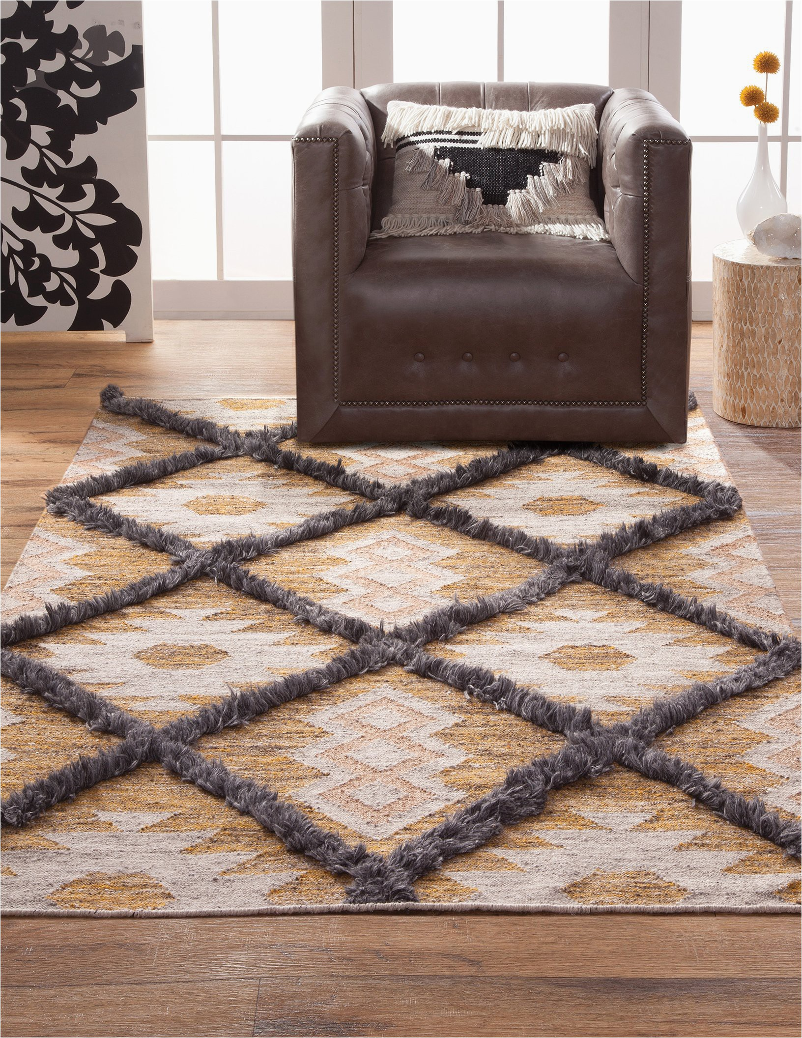Southwest Boho Tan Ivory Gray Flatweave Wool Area Rug 2048x