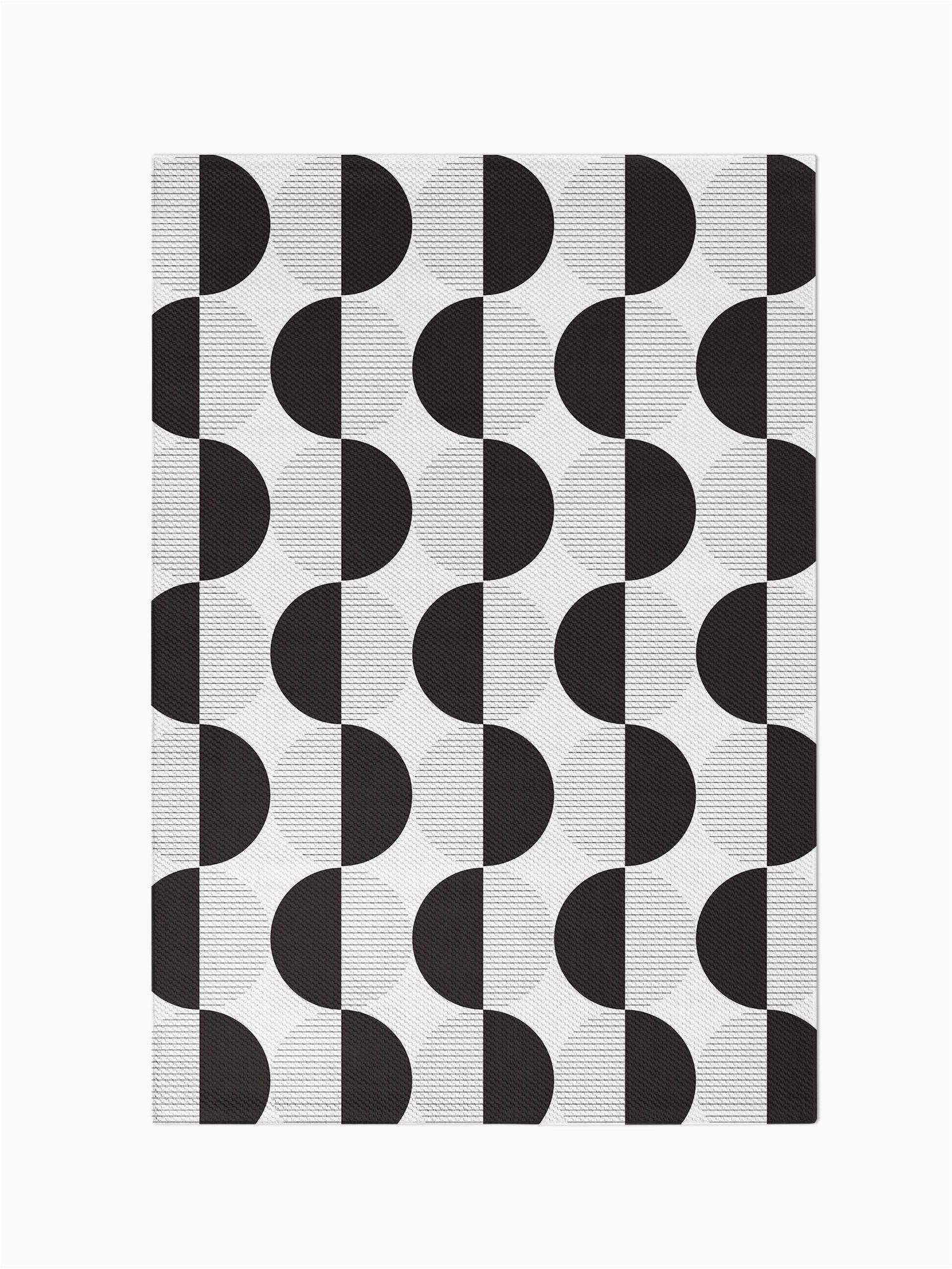 Black and White area Rugs 3×5 Black White Geometric Circles area Rug