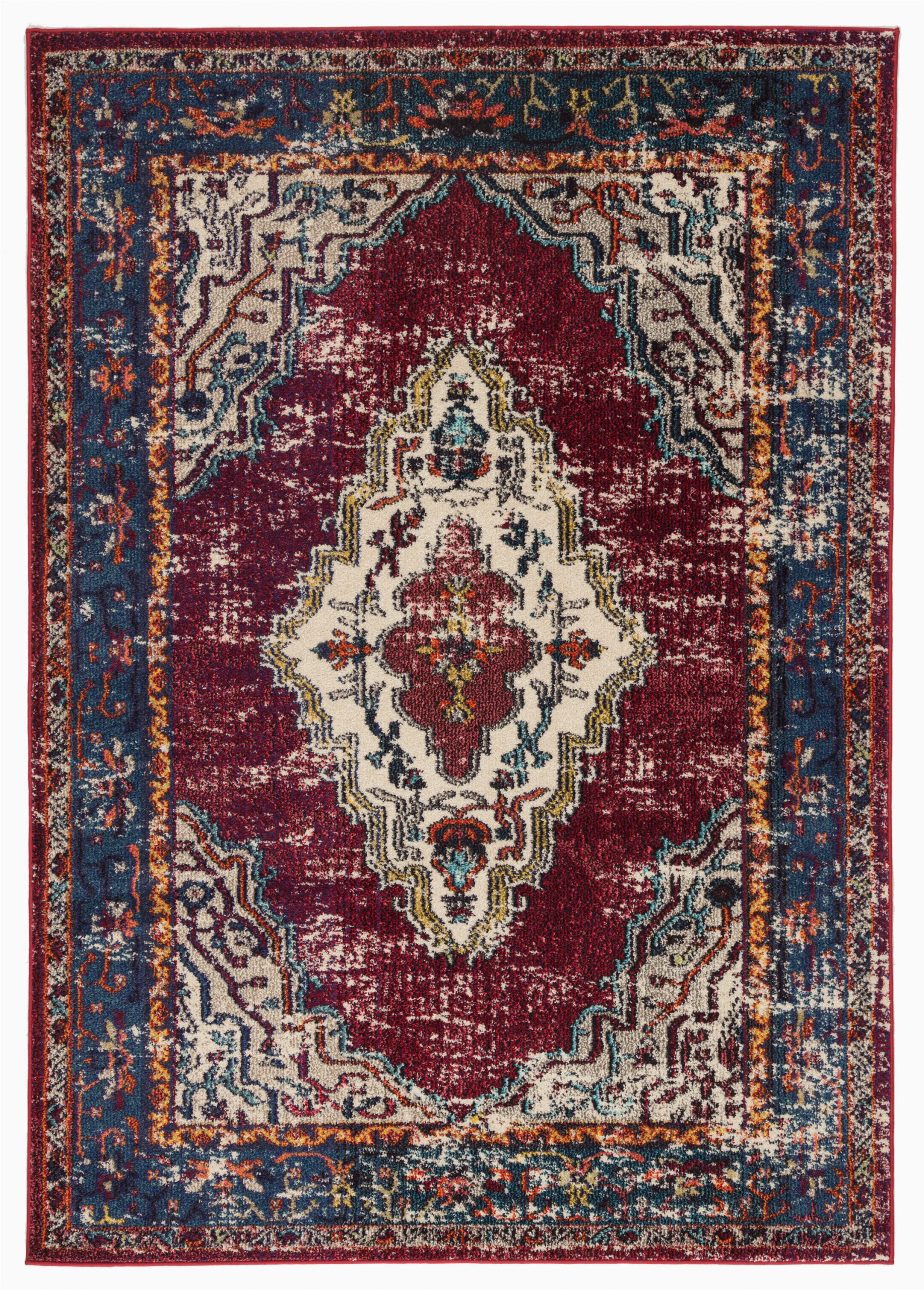 avianna persian inspired medallion maroonbluebrown area rug
