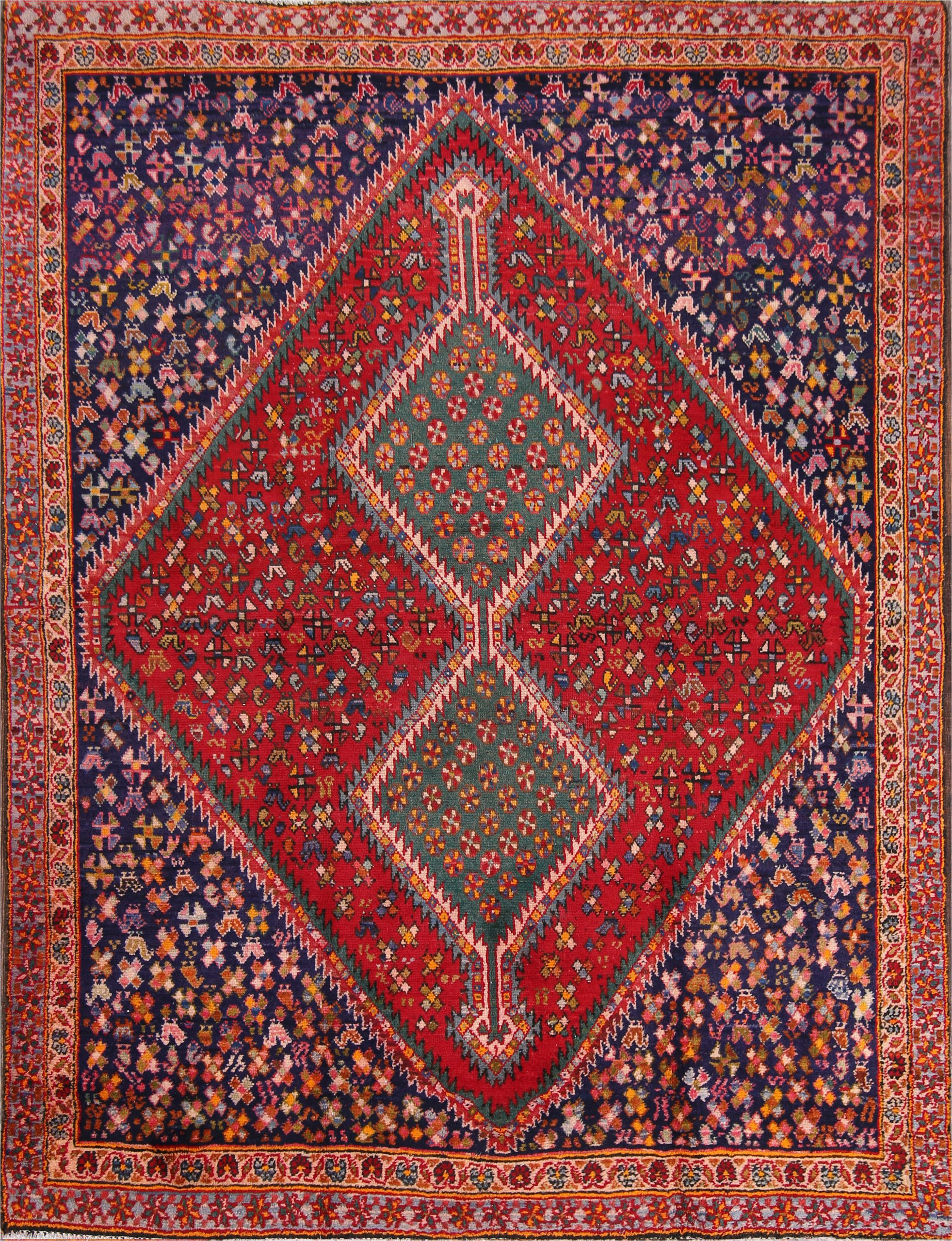isabelline one of a kind tadi traditional ghashghaei shiraz persian hand knotted 48 x 61 wool blueburgundybeige area rug bi