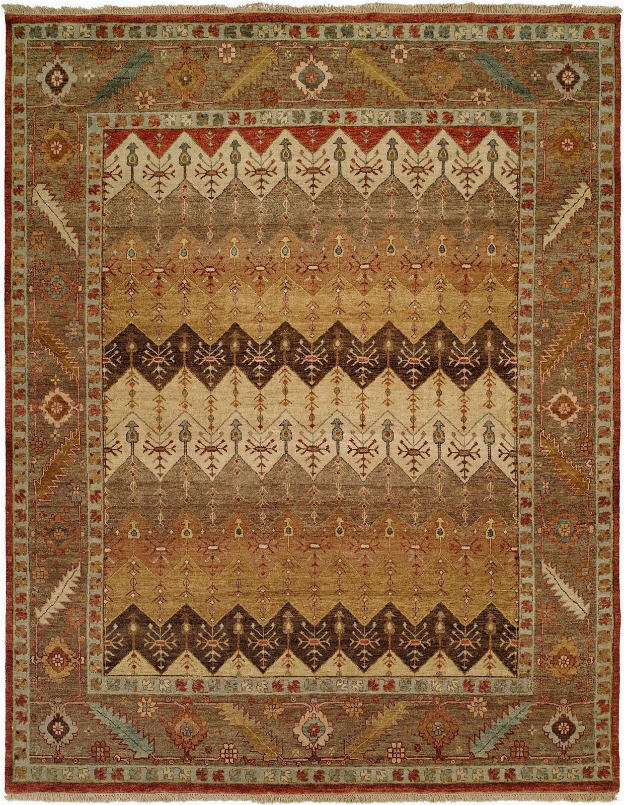 kalaty pile rug brown light blue multi