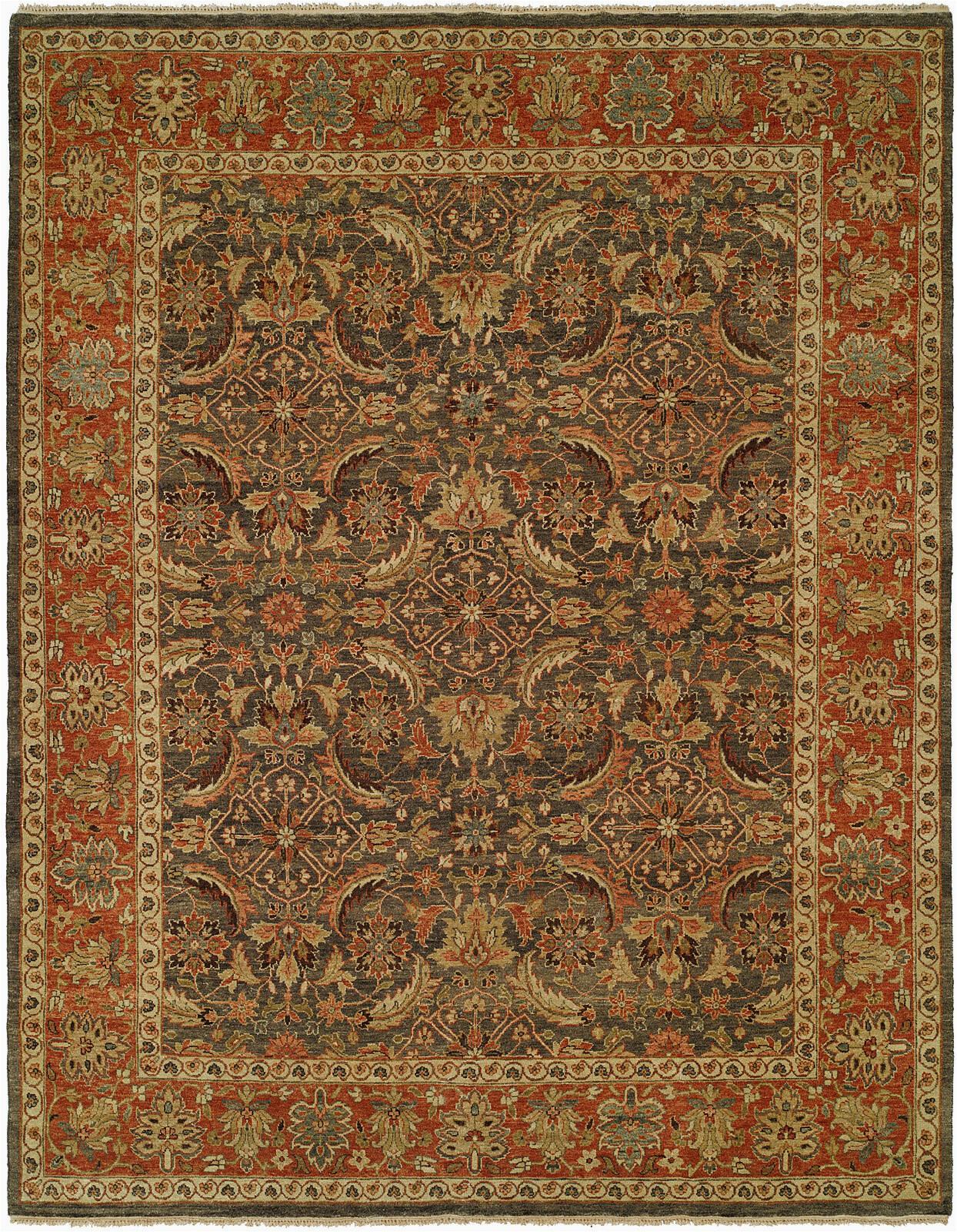 milbridge oriental hand knotted wool brownrust area rug