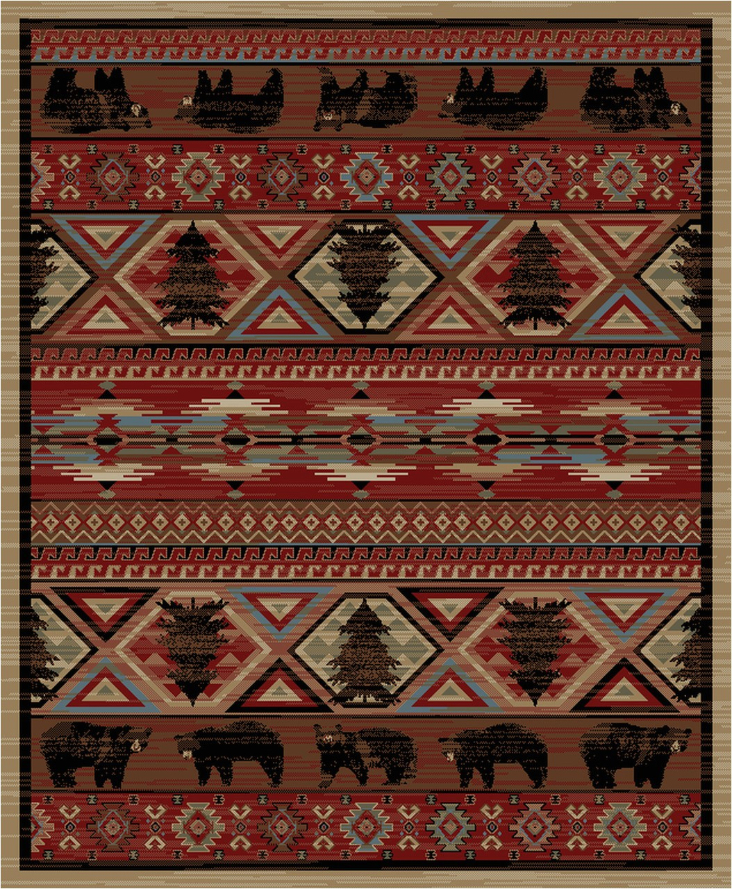 dean lodge king red pine rustic western lodge bear cabin ranch area rug size 53 x 73