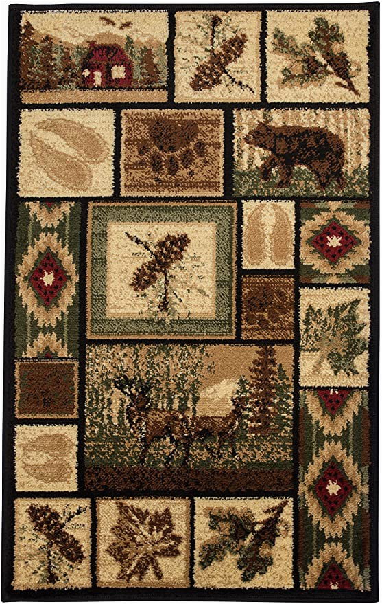 Cabin Lodge Style area Rugs Rugs 4 Less Collection Rustic Western and Native American Wildlife and Wilderness Cabin Lodge Accent area Rug R4l 386 2×3