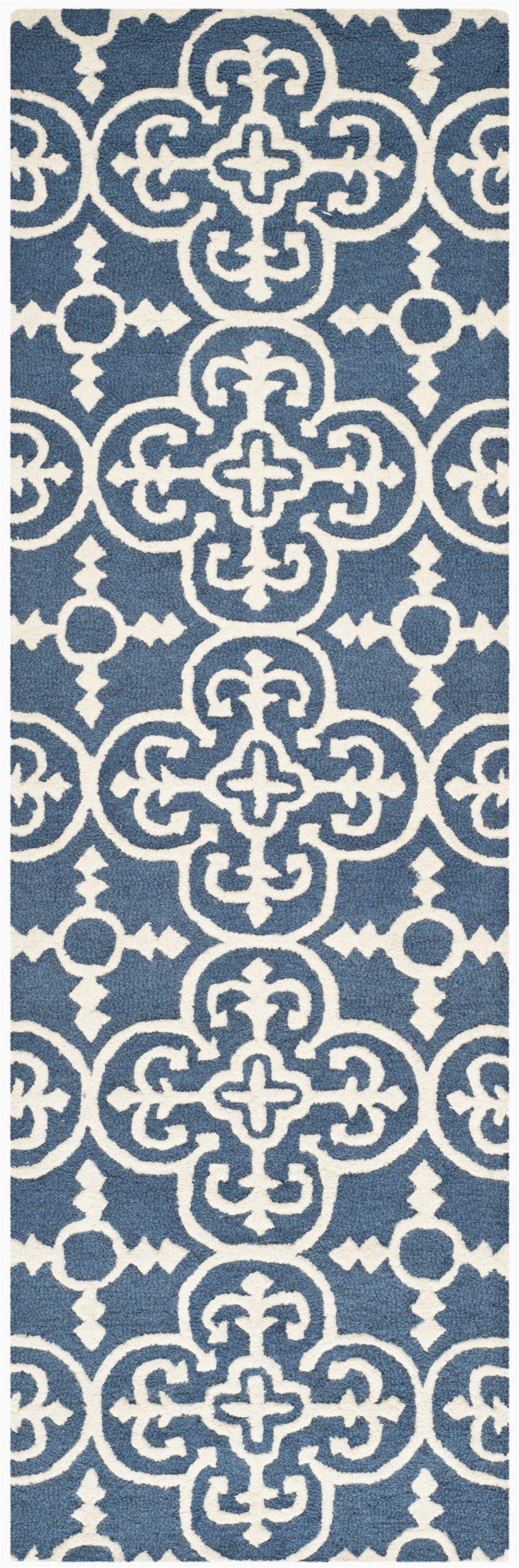 three posts byron geometric hand tufted wool navy blueivory wool area rug thps3682 piid=
