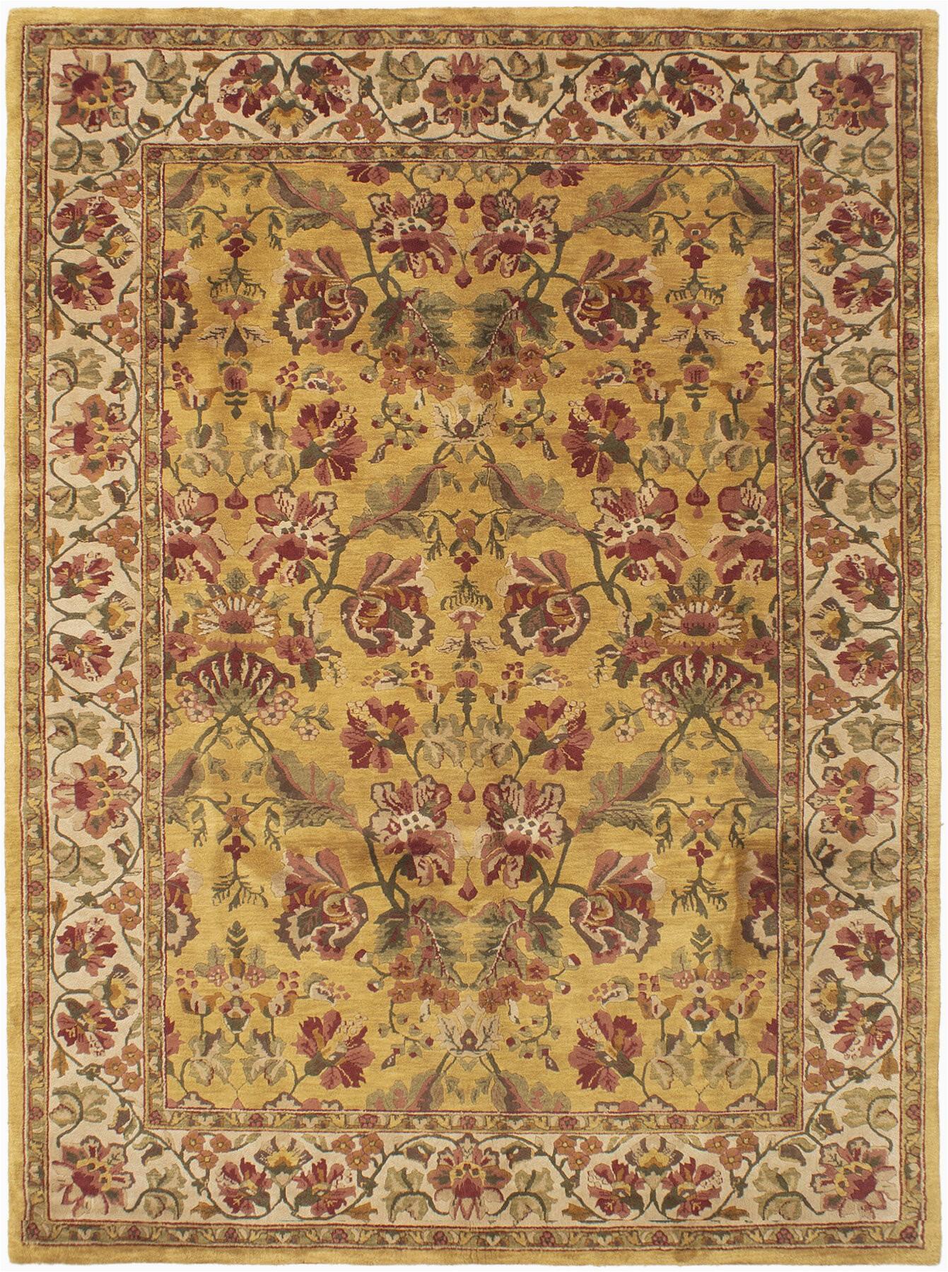 minatare hand knotted wool dark gold area rug