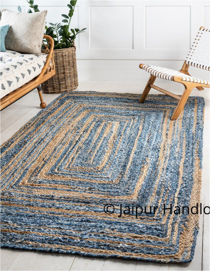Denim and Jute area Rug Hand Braided Denim Jute area Rugs for Living Room 6 X 8 Feet