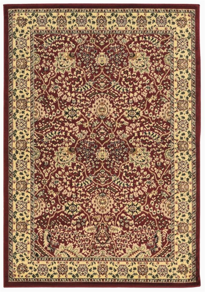 elegance collection 8 x 10 area rug in red ivory linon rug ee0181