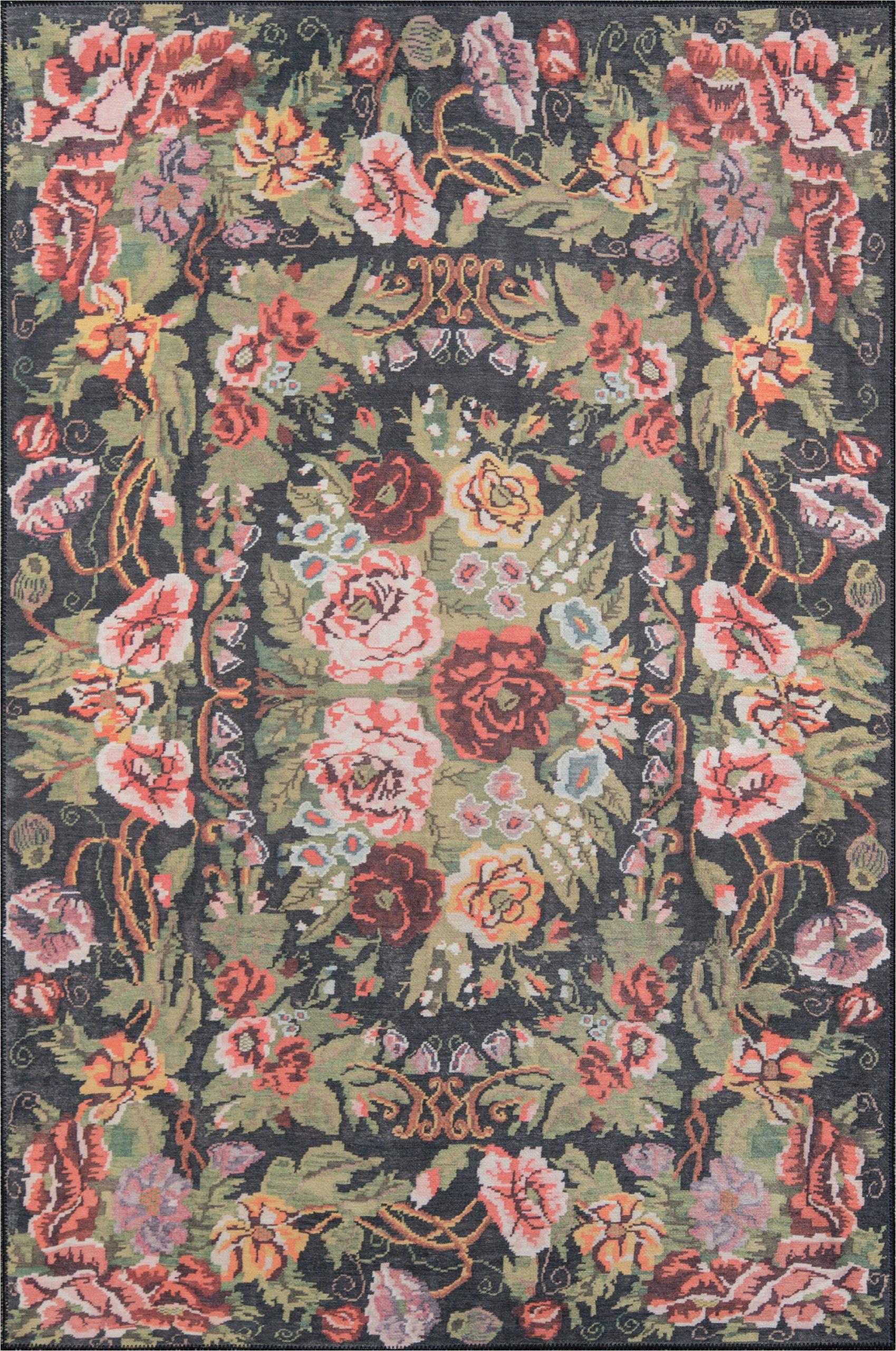 chiu floral blackgreenpink area rug
