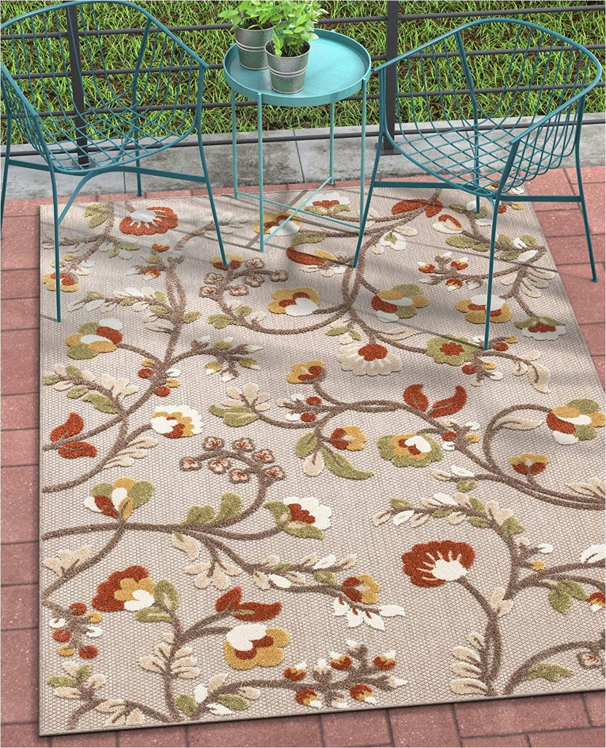 "Indoor Outdoor area Rugs 5×7 Well Woven Darla Floral Beige Indoor Outdoor area Rug 5×7 5 3"" X 7 3"" High Traffic Stain Resistant Modern Carpet"
