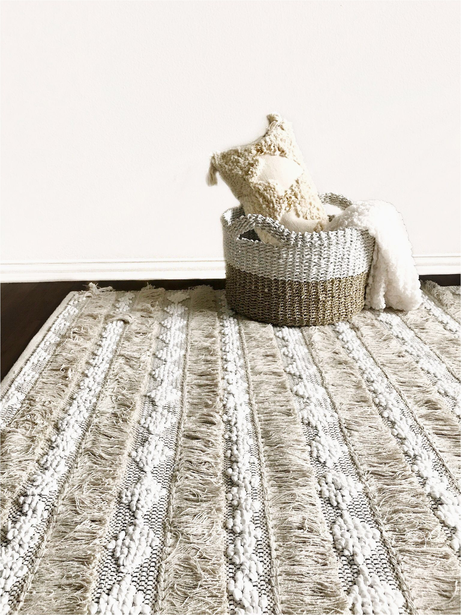 Large area Rug with Fringe Boho Woven Fringe Rug