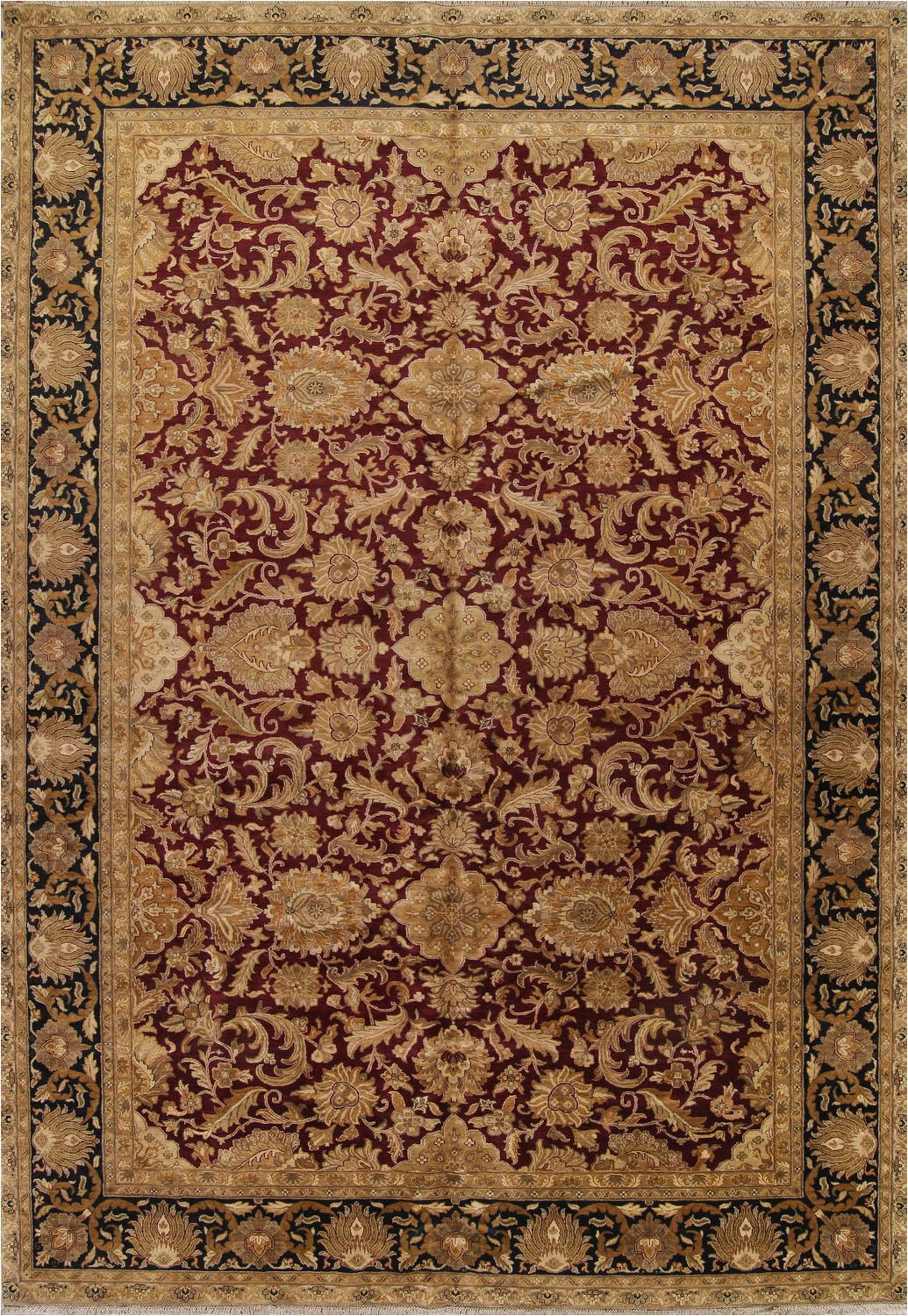 floral burgundy agra oriental hand knotted area rug wool 12x18