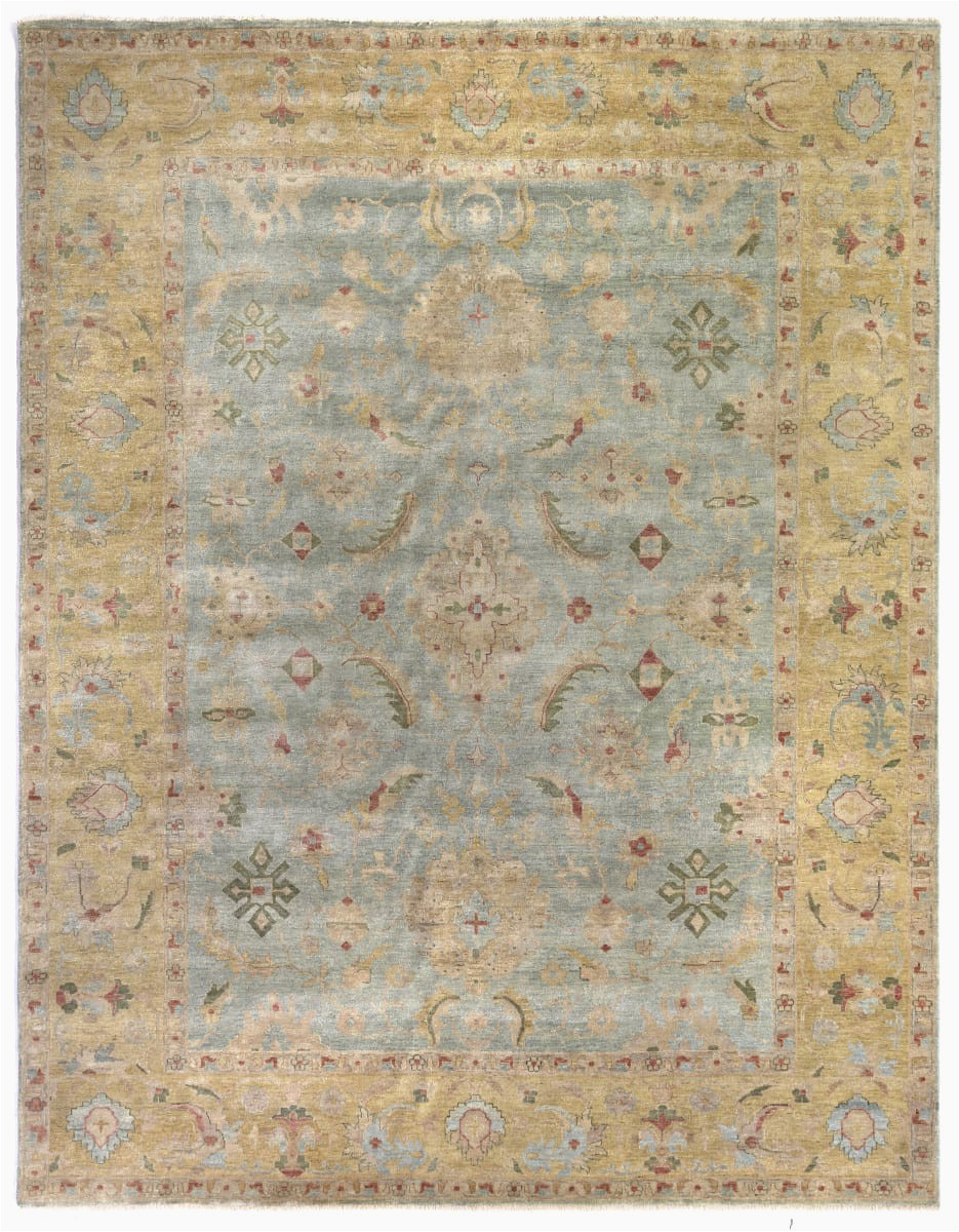exquisite rugs oushak 3344 light blue gold area rugx