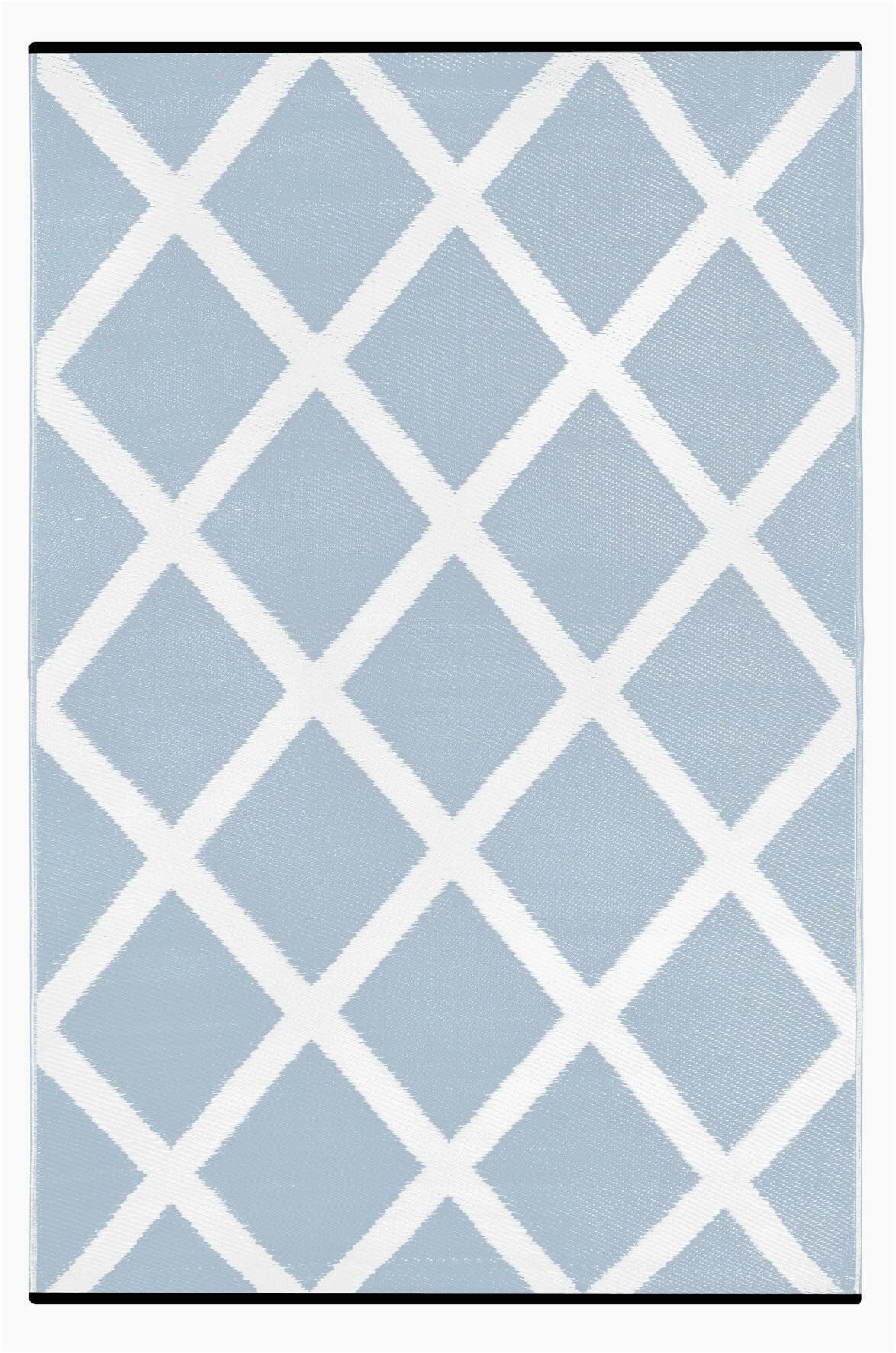 lightweight reversible diamond light bluewhite indooroutdoor area rug