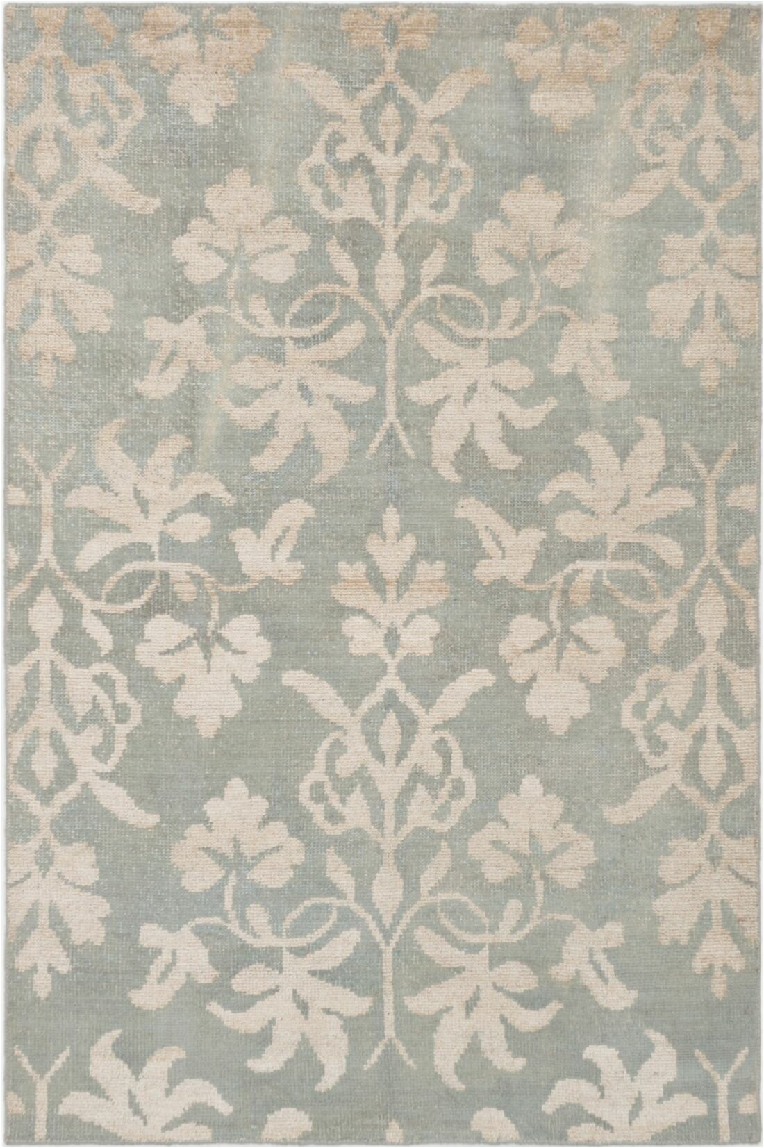 house of hampton one of a kind purnell hand knotted 55 x 83 light green area rug w