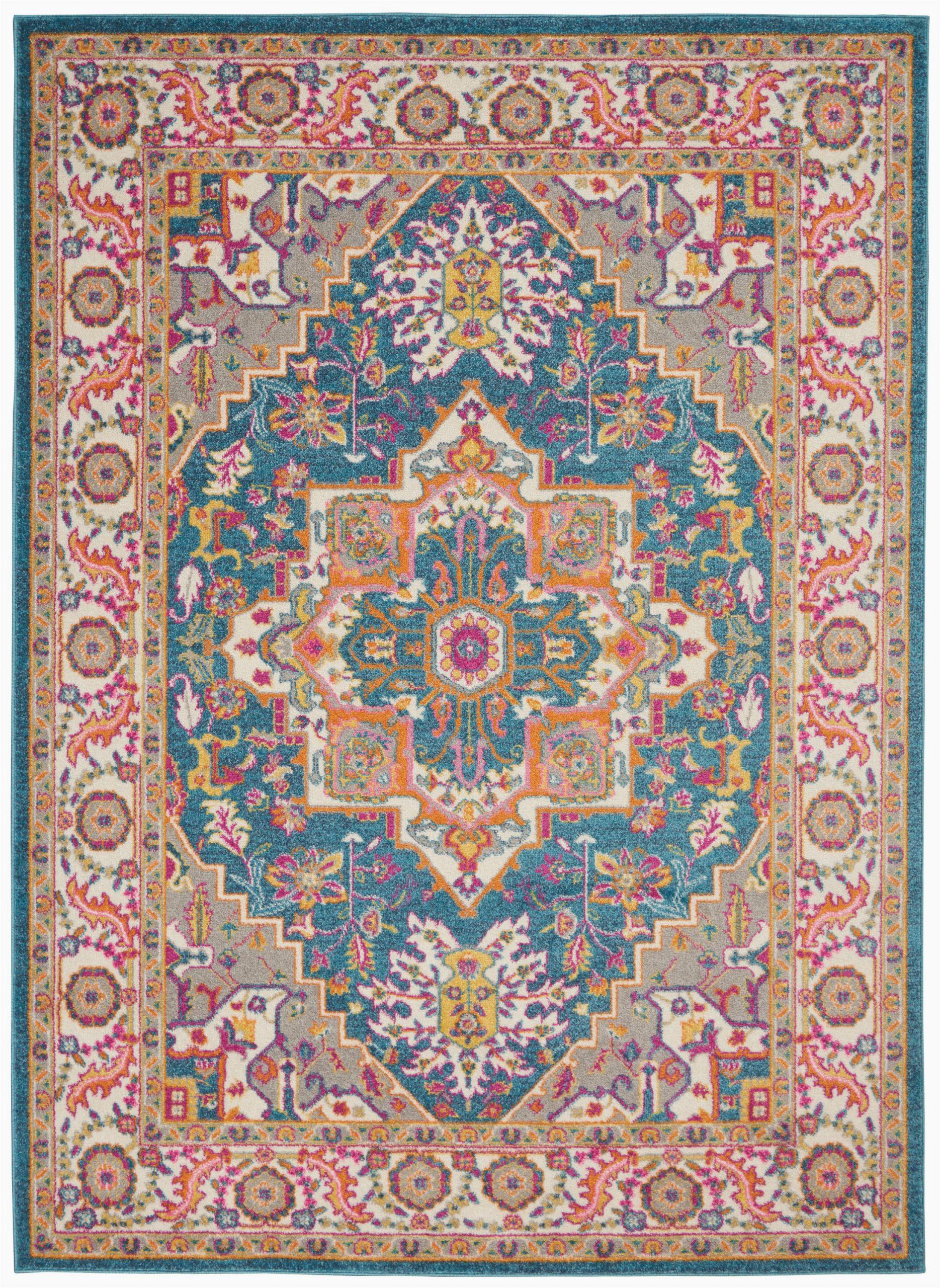nourison passion psn20 teal multicolor area rug